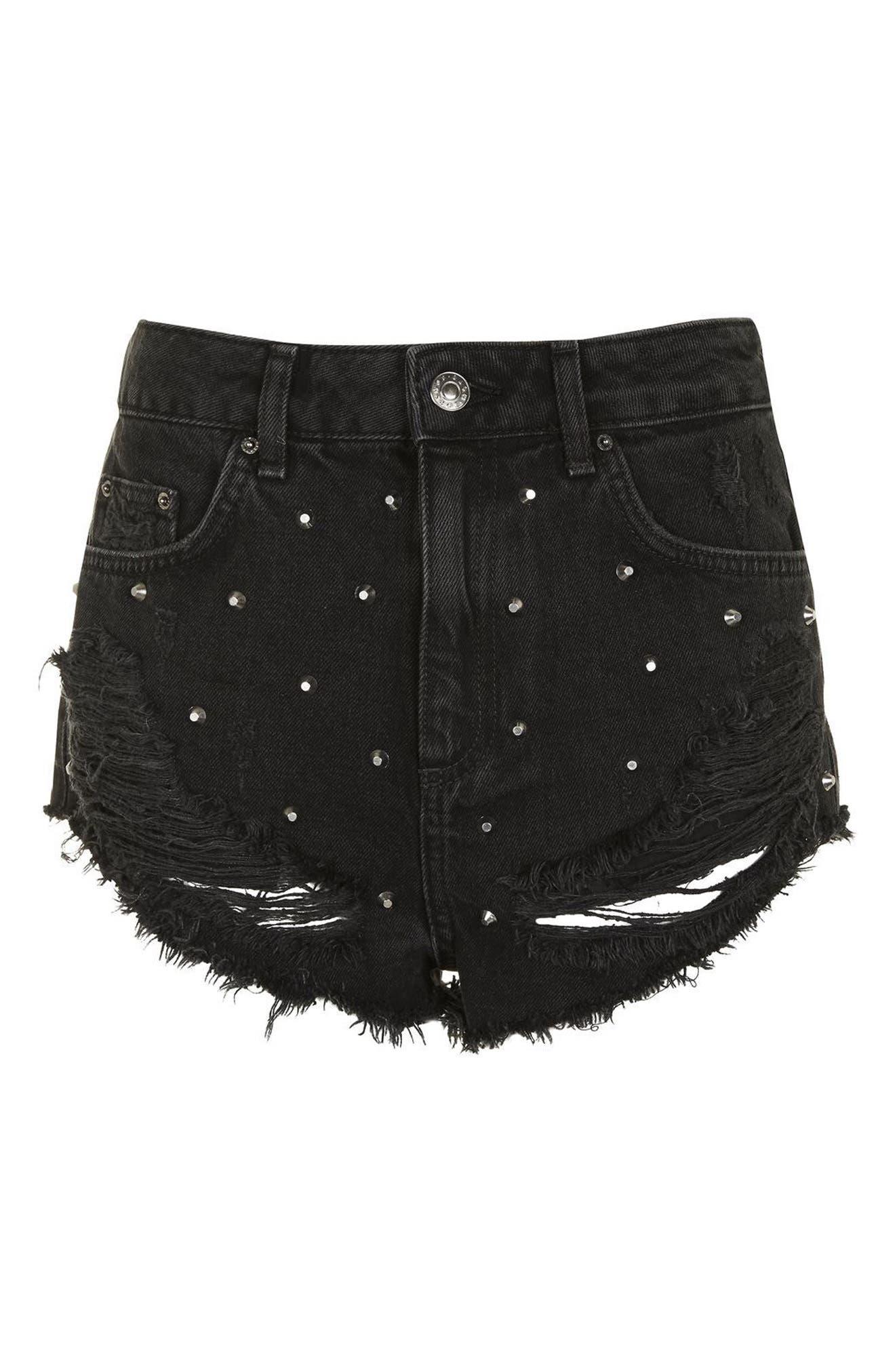 Alternate Image 4  - Topshop Kiri Stud Ripped Denim Shorts