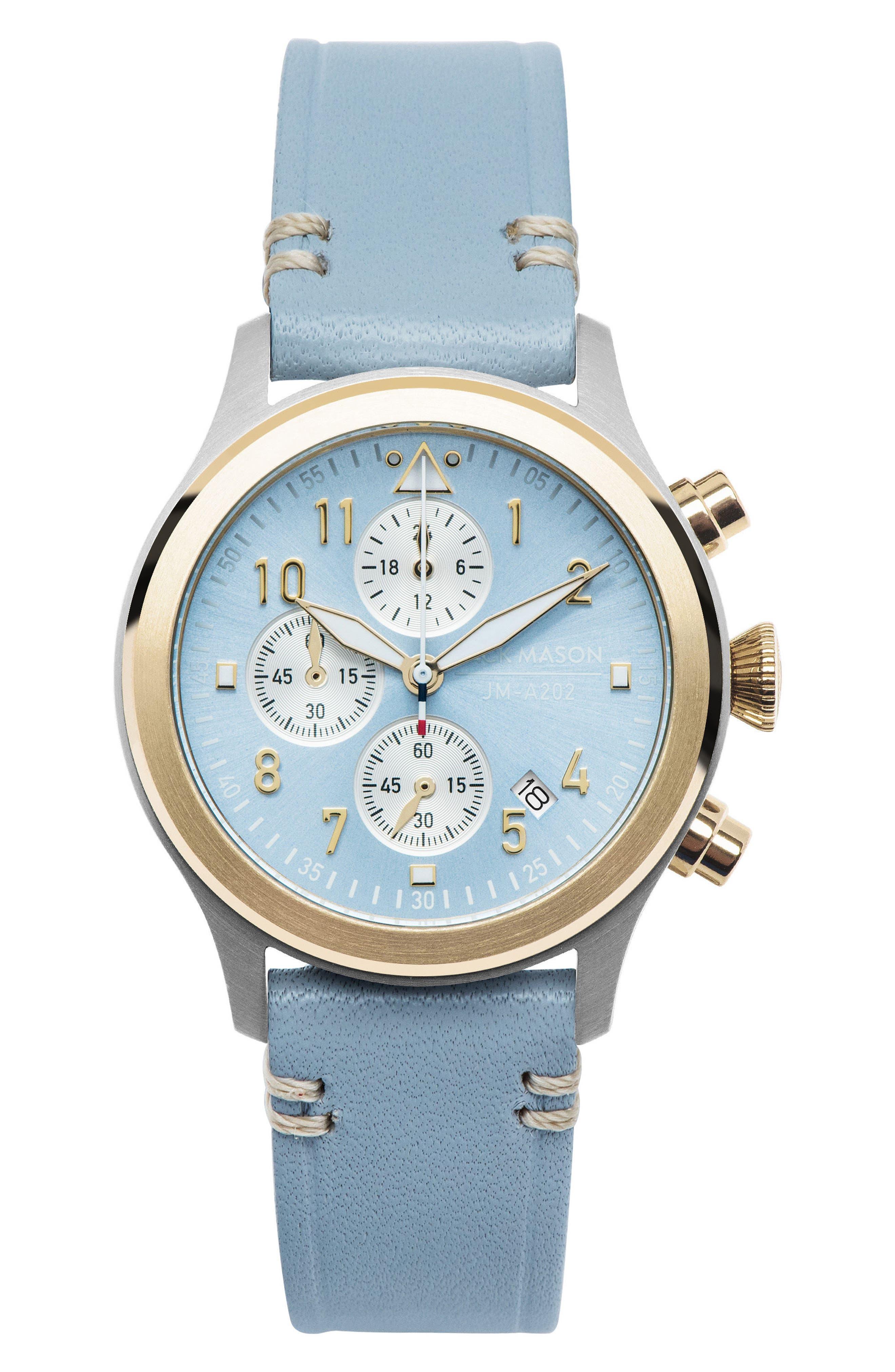 Jack Mason Aviation Chronograph Leather Strap Watch, 36mm