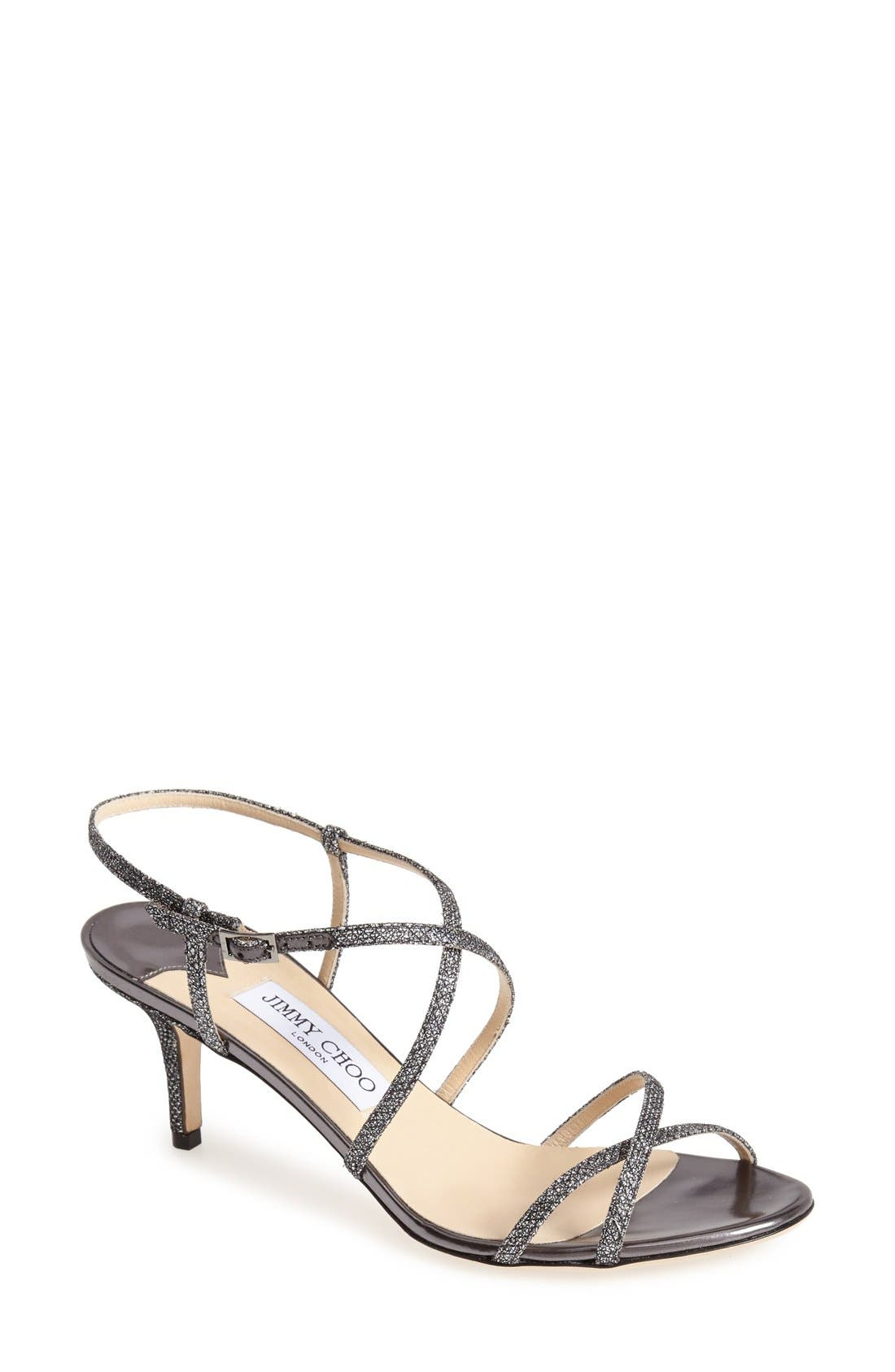 Alternate Image 1 Selected - Jimmy Choo 'Elisa' Glitter Strap Sandal (Women)