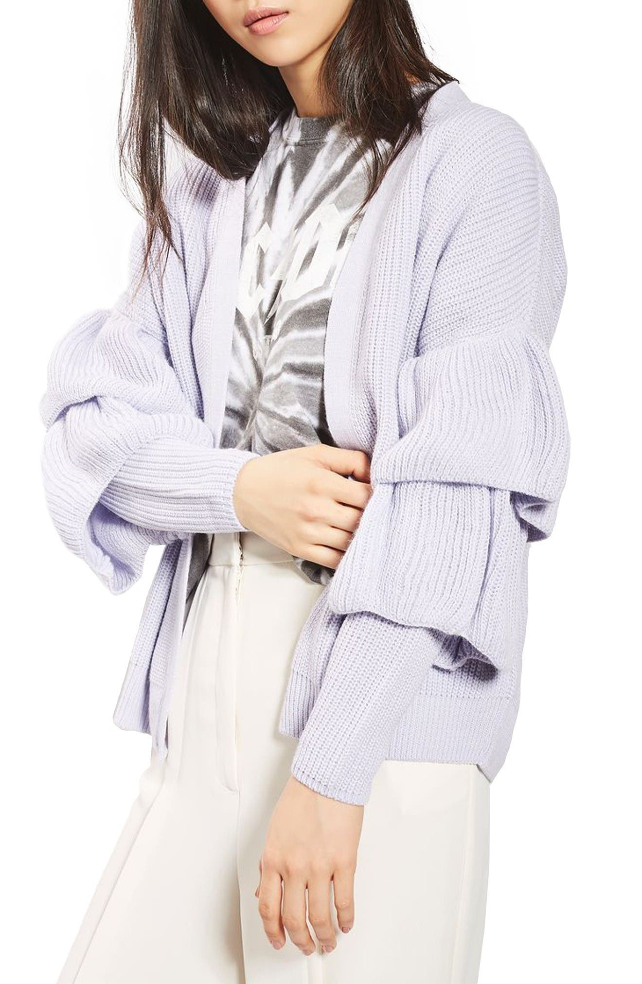 Alternate Image 1 Selected - Topshop Ruffle Sleeve Cardigan