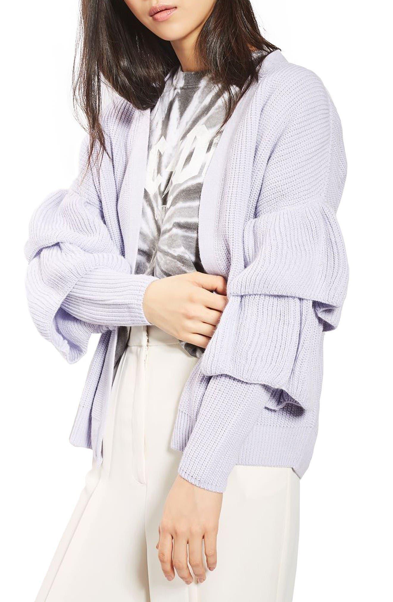 Main Image - Topshop Ruffle Sleeve Cardigan