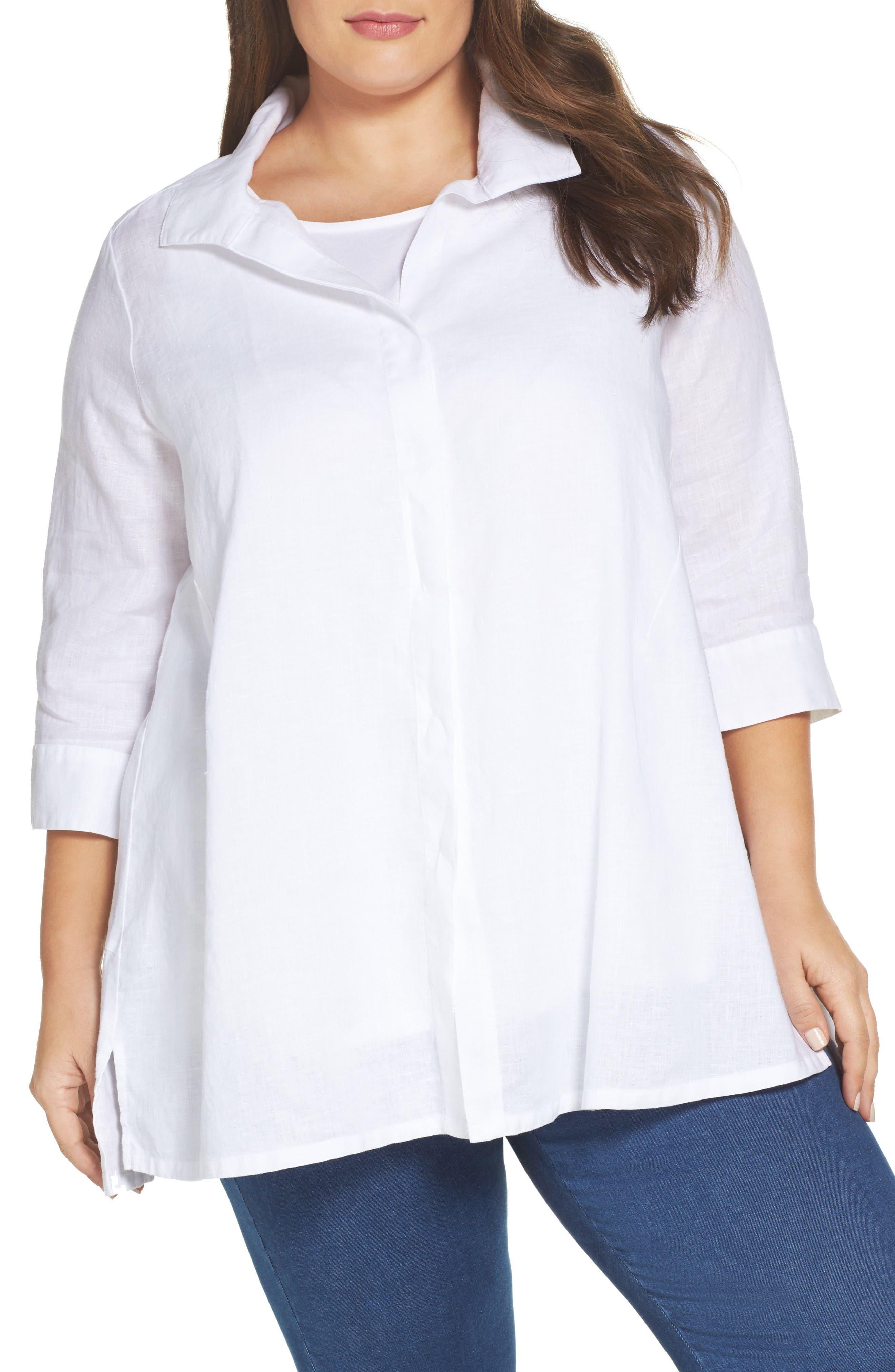 Foxcroft Skye Linen Tunic Shirt (Plus Size)