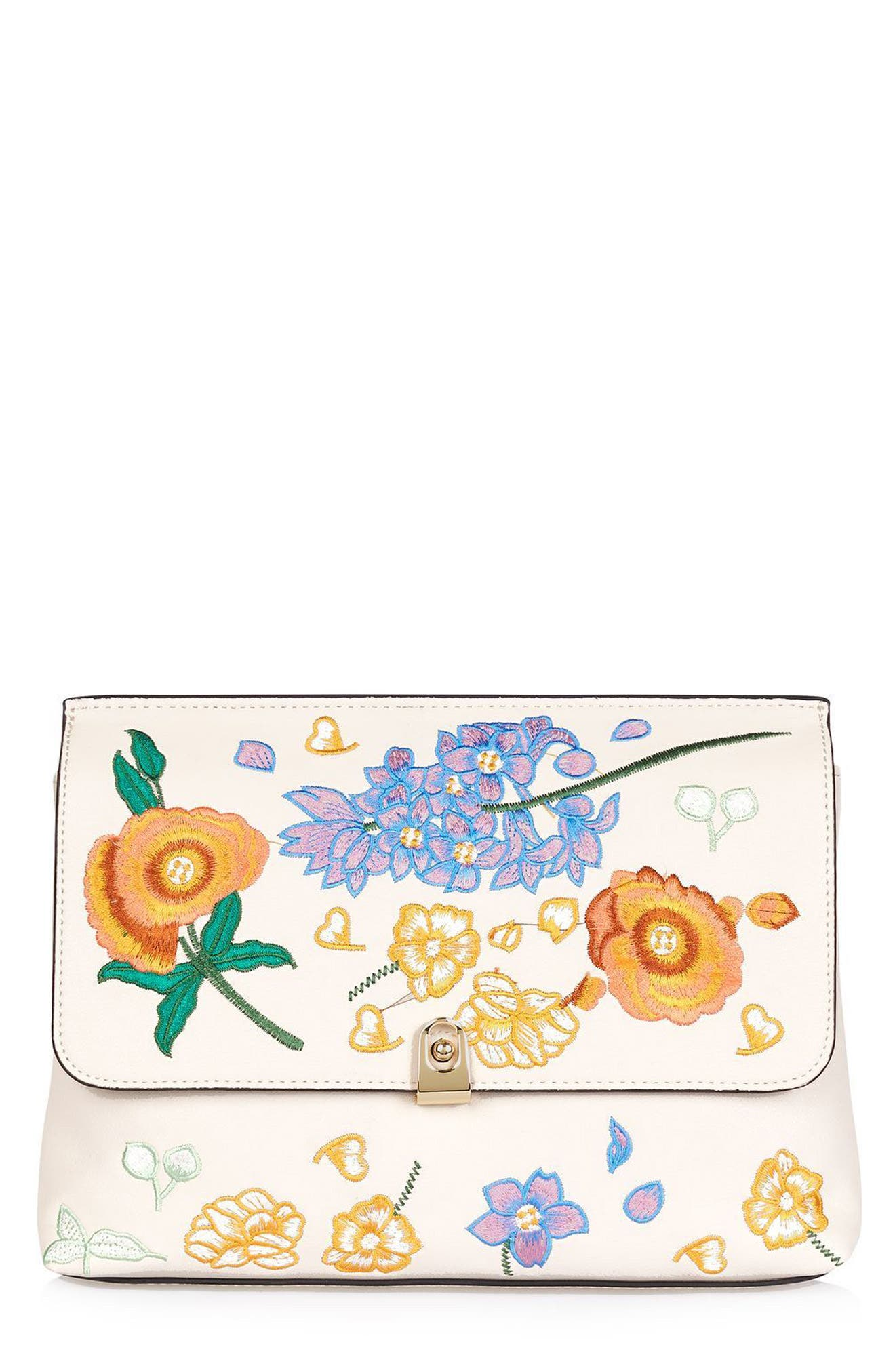 Main Image - Topshop Floral Embroidered Faux Leather Clutch