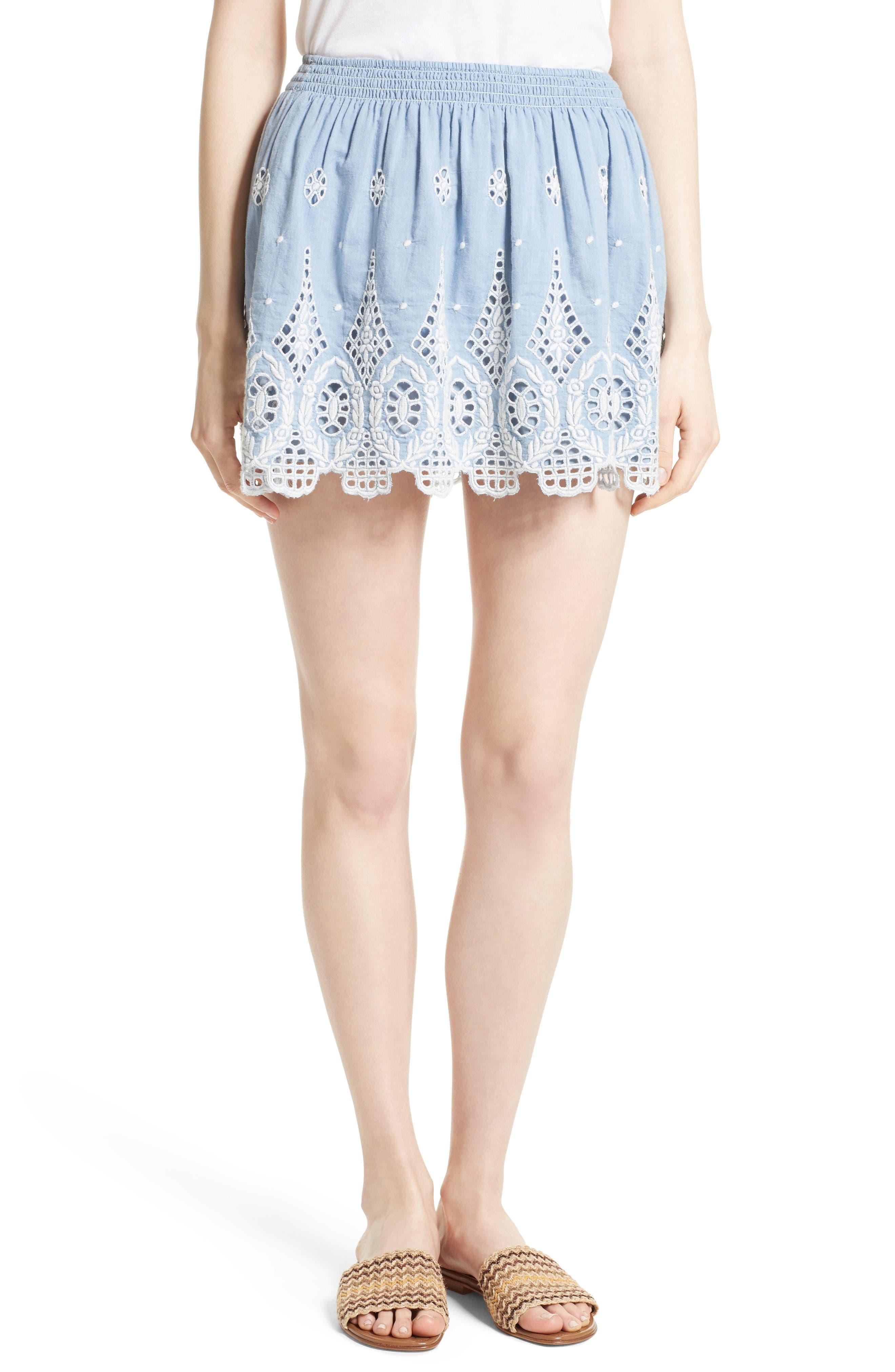 Joie Wanita Eyelet Embroidered Miniskirt