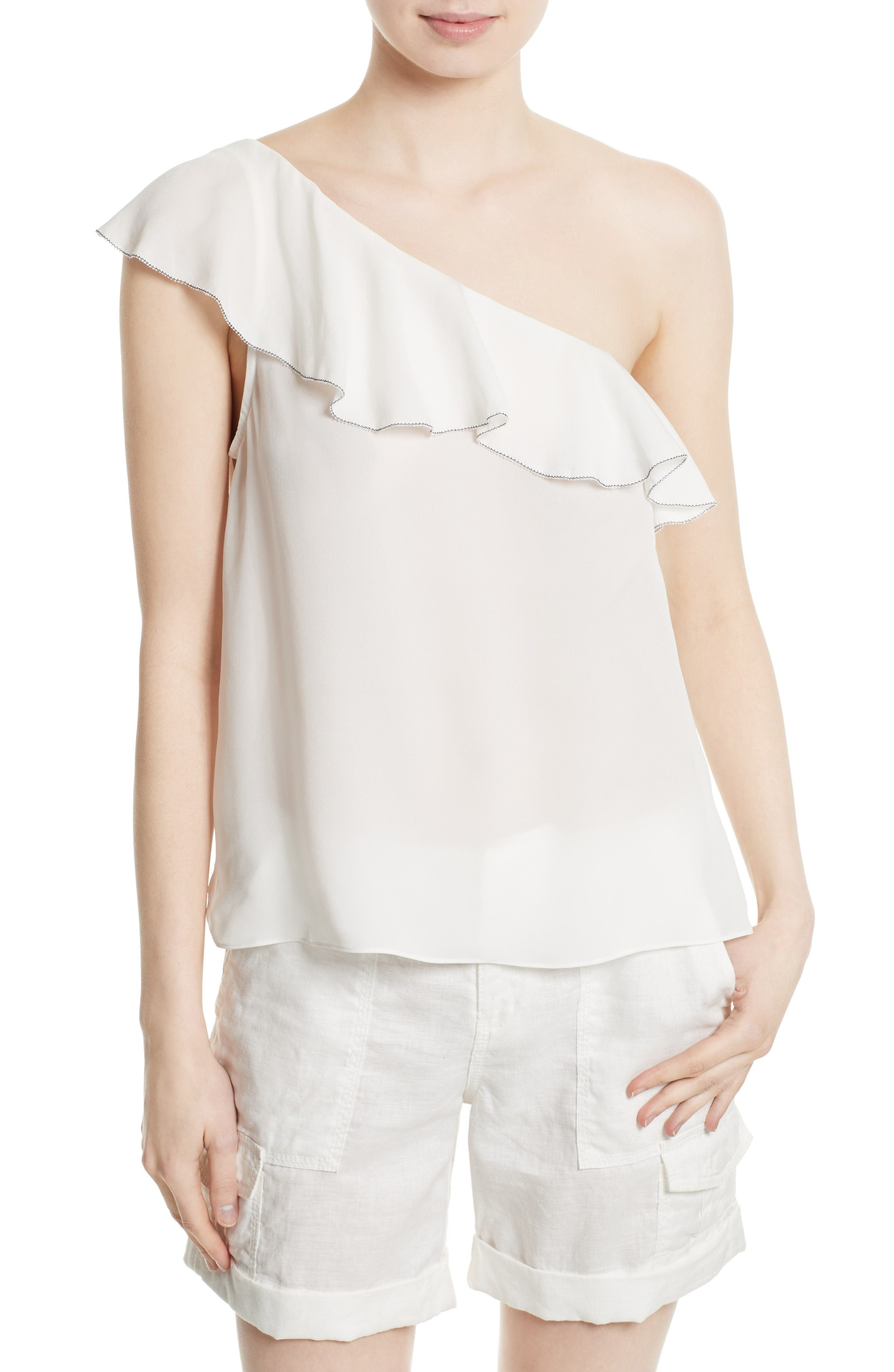 Joie Ernesta Silk One-Shoulder Top