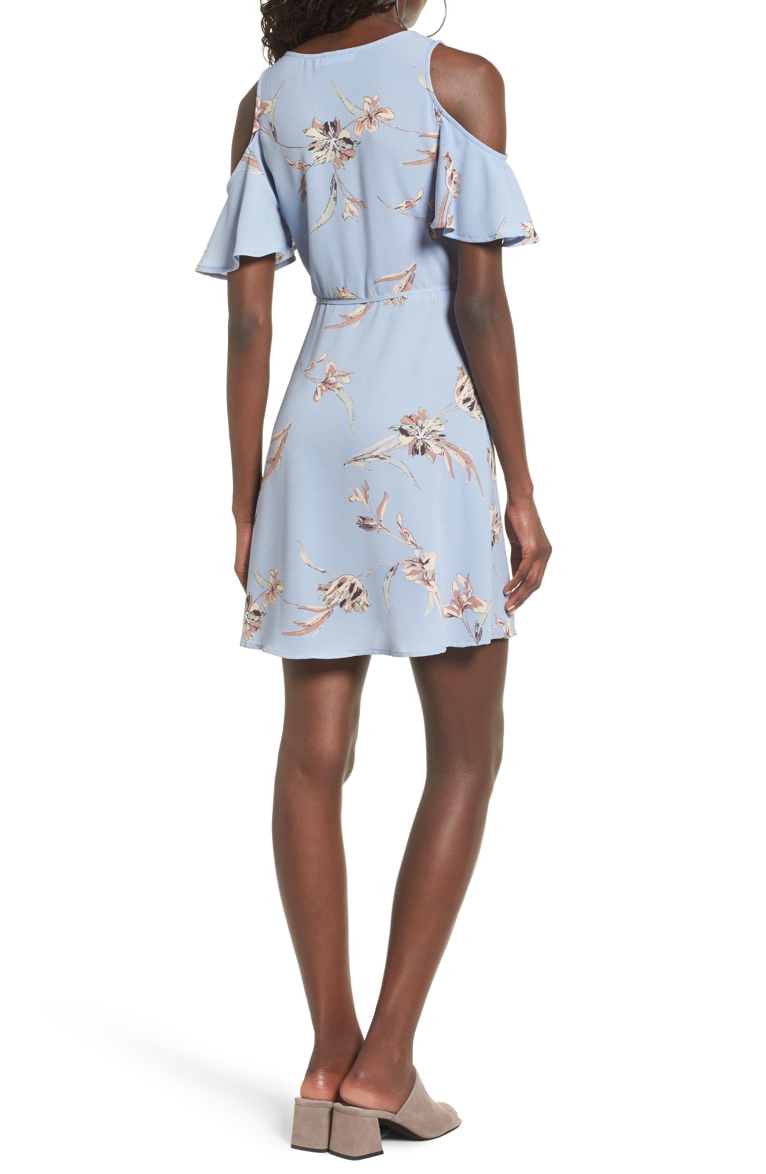 Alternate Image 2  - Lush Floral Print Cold Shoulder Wrap Dress
