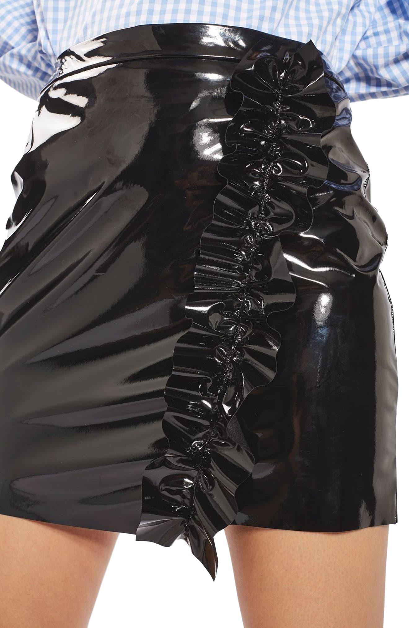 Alternate Image 5  - Topshop Ruffle Vinyl Miniskirt