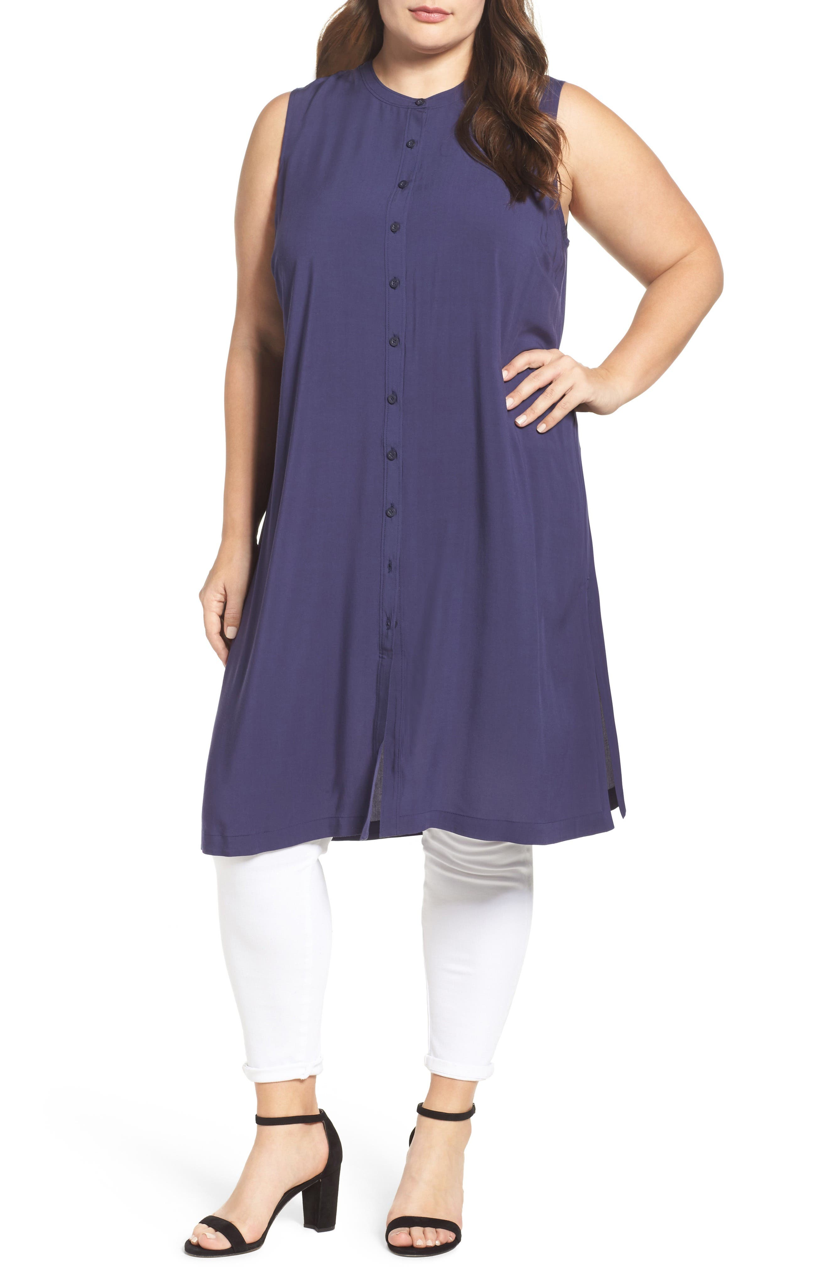 Sejour Button Front Tunic (Plus Size)