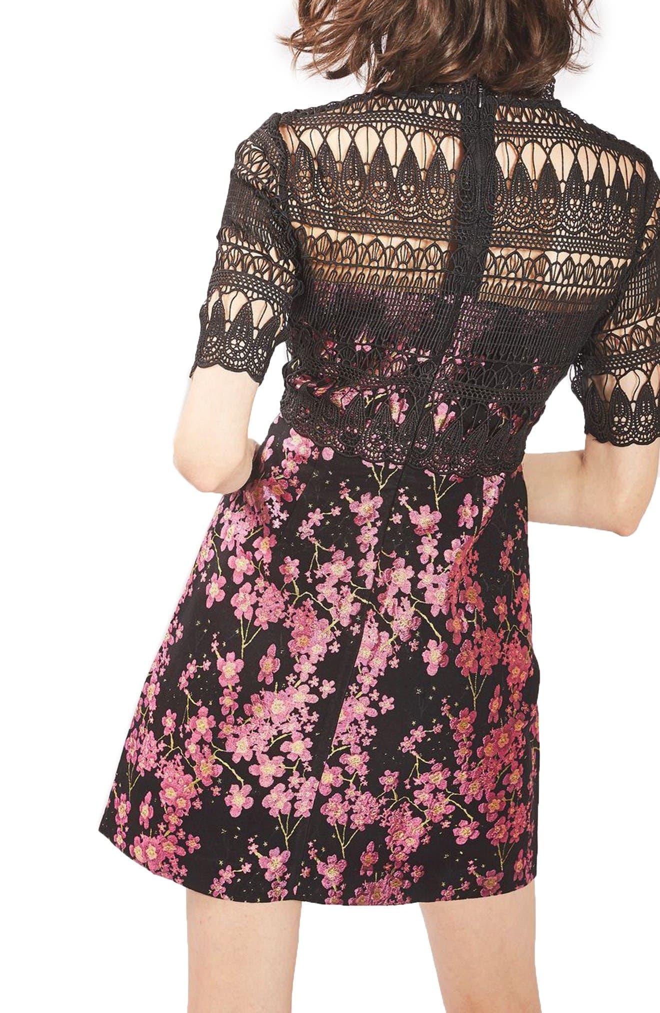Alternate Image 2  - Topshop Lace & Jacquard Dress