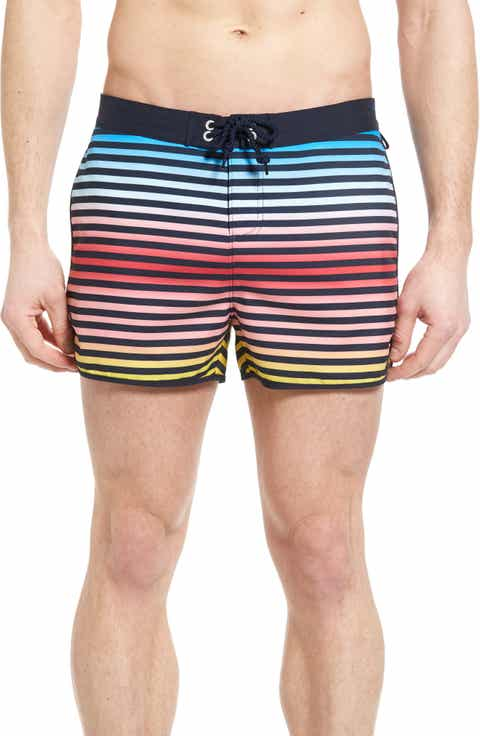 Original Penguin Ombré Stripe Volley Swim Trunks