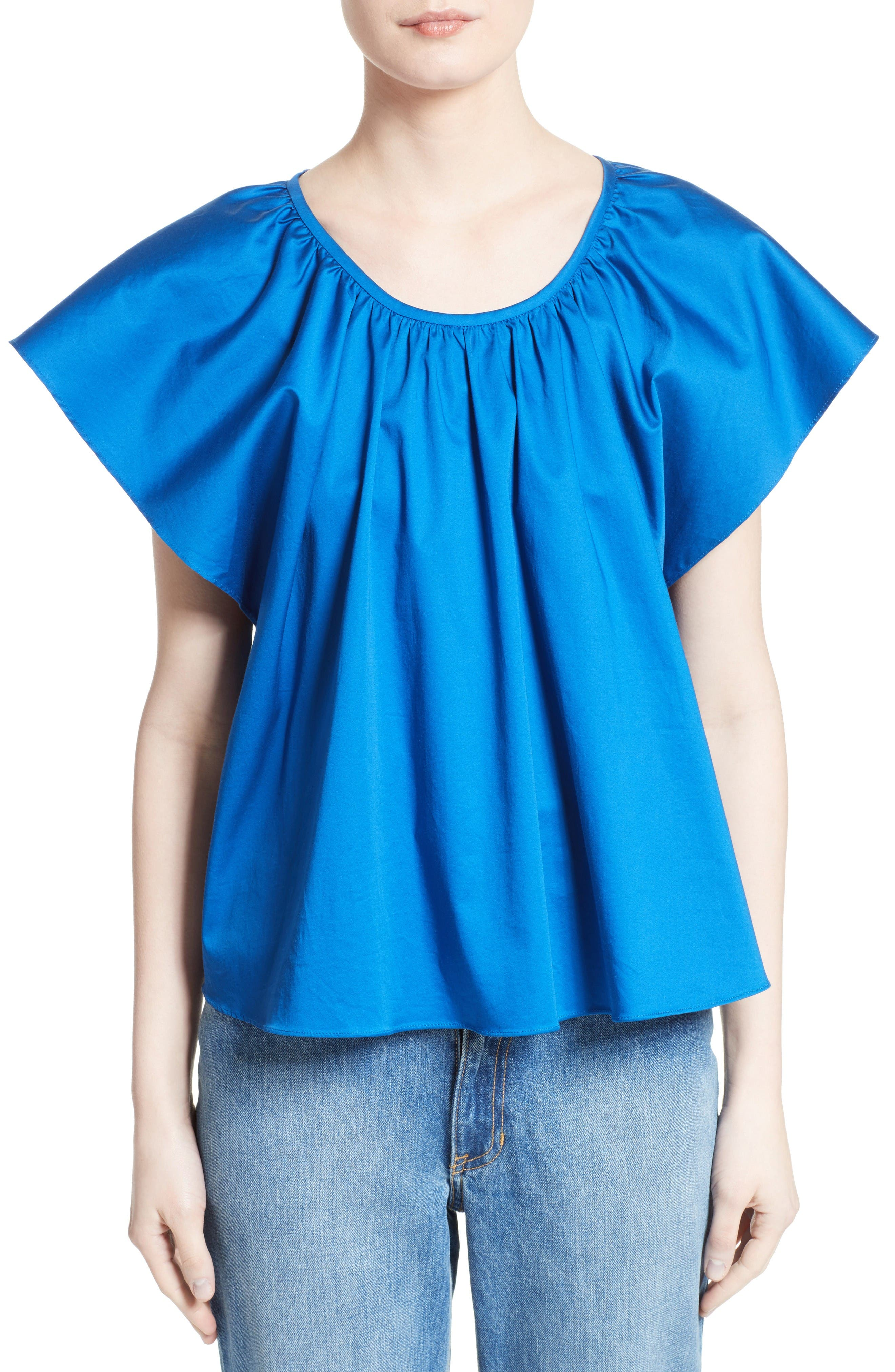 Opening Ceremony Flutter Sleeve Sateen Top