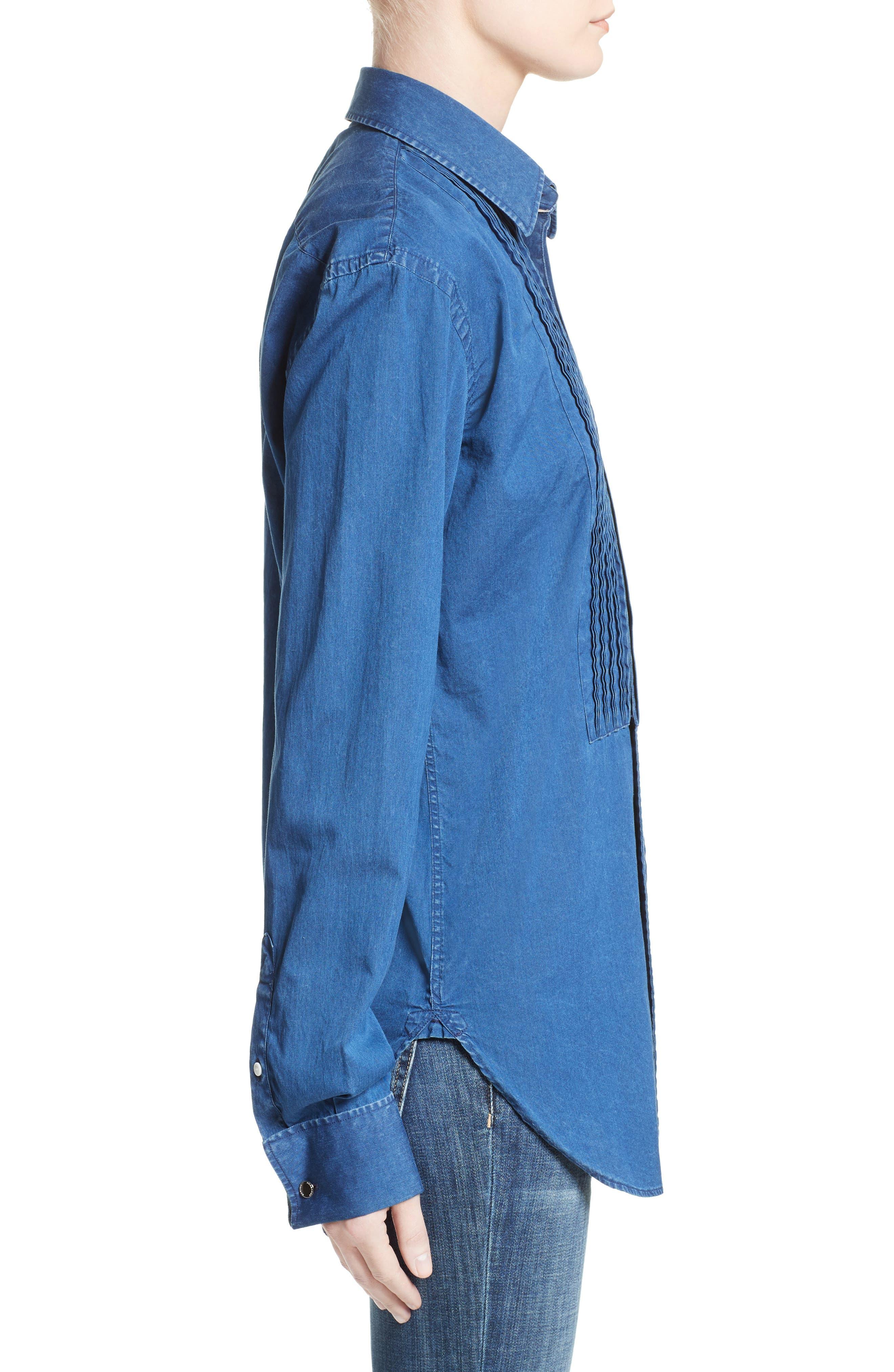Alternate Image 5  - Burberry Jaden Pintuck Denim Shirt