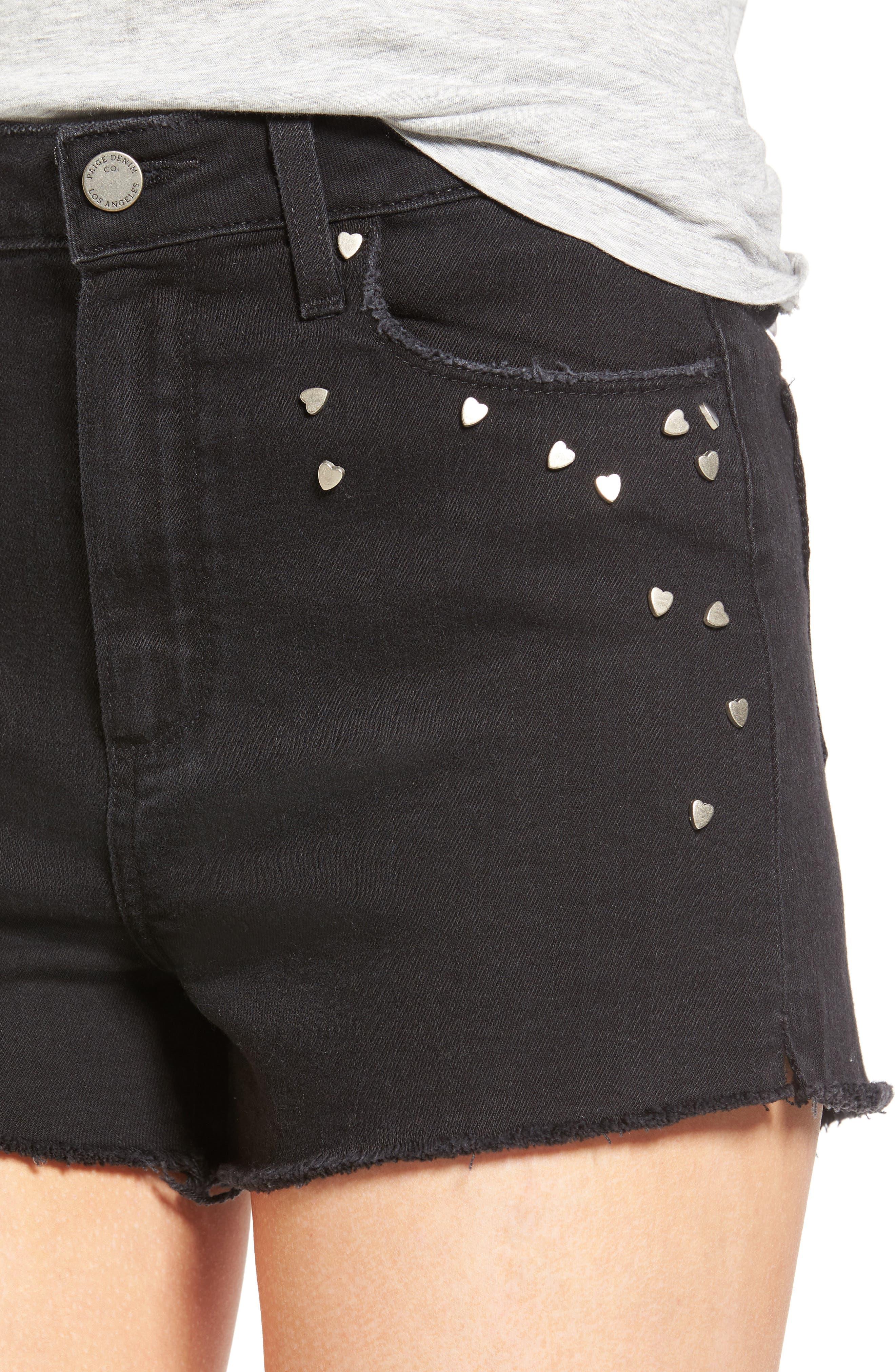 Alternate Image 4  - PAIGE Margot High Waist Cutoff Denim Shorts (Noir Studded Heart)