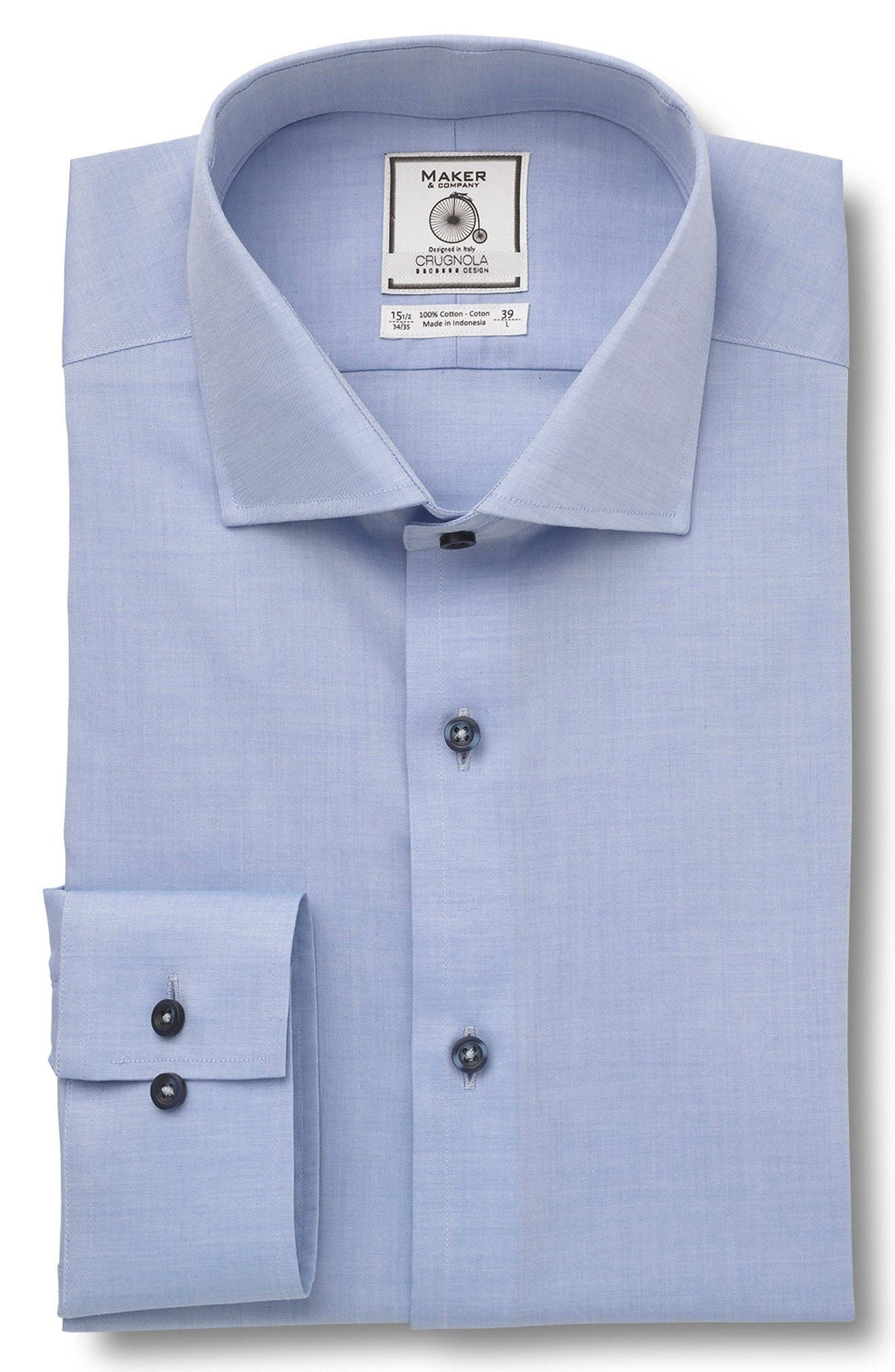 MAKER & COMPANY Trim Fit Solid Dress Shirt
