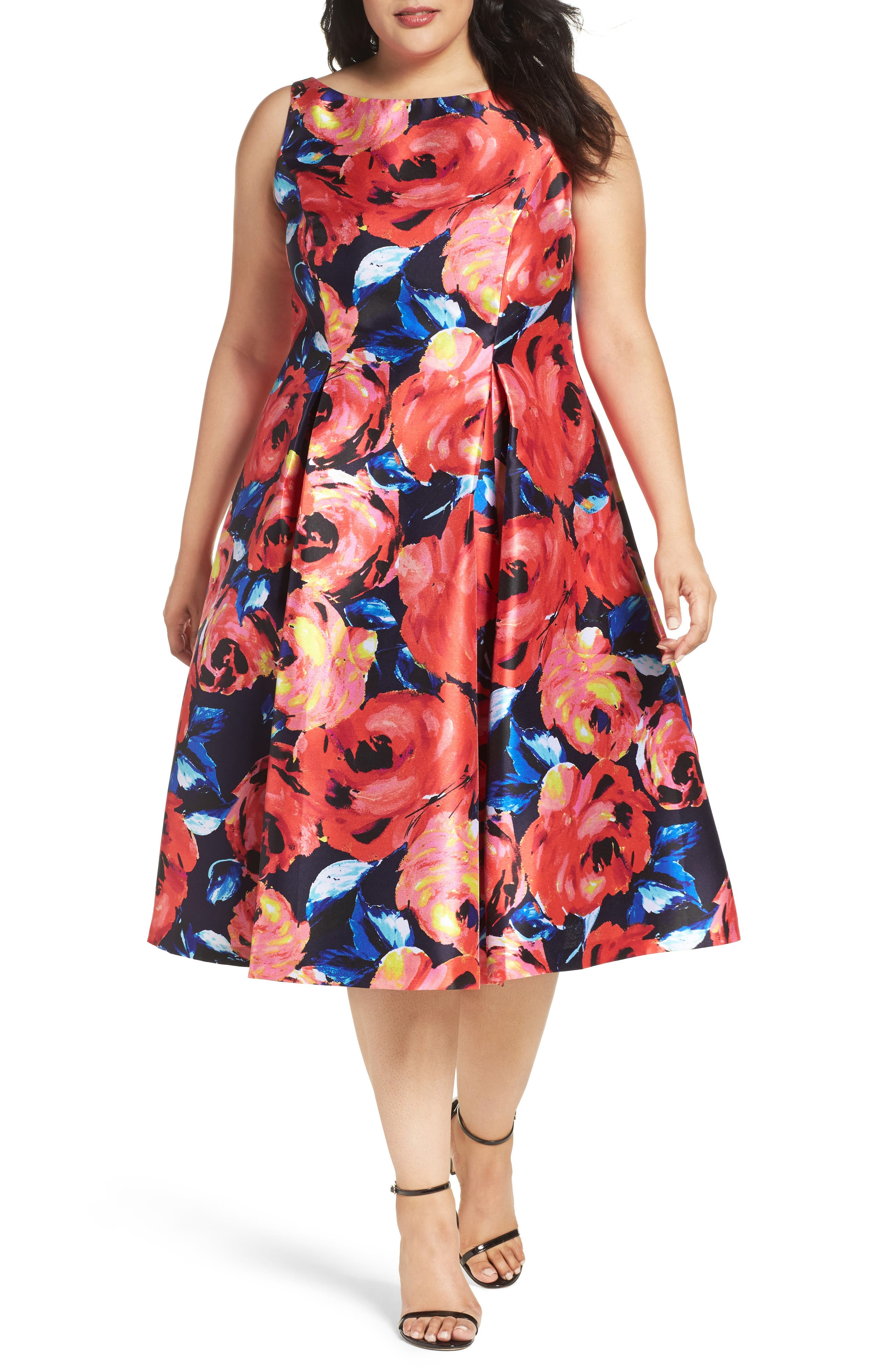 Adrianna Papell Floral Mikado Party Dress (Plus Size)