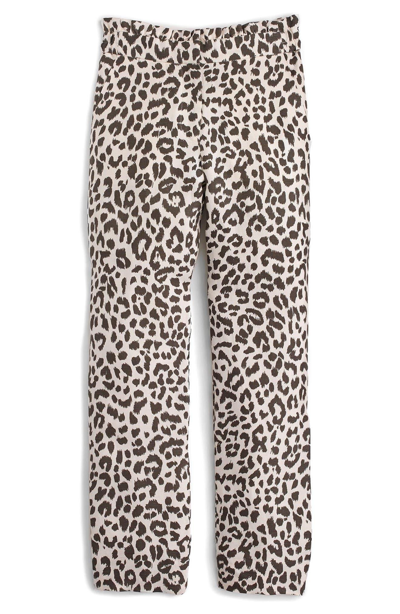 Alternate Image 4  - J.Crew Ruffle Waist Leopard Print Linen Pants (Regular & Petite)
