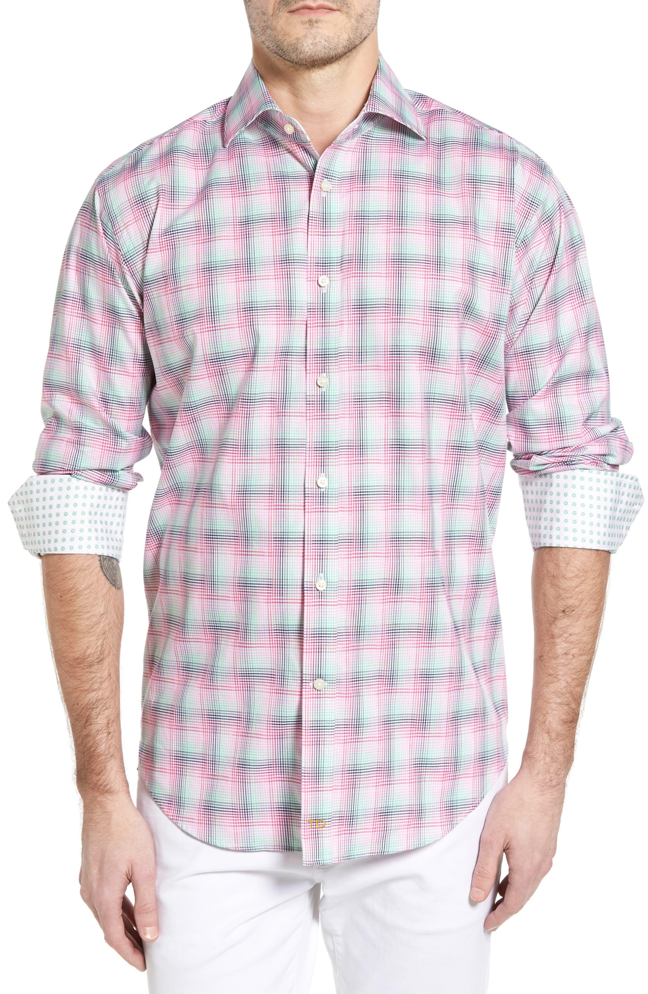 Thomas Dean Classic Fit Funky Plaid Sport Shirt (Regular)