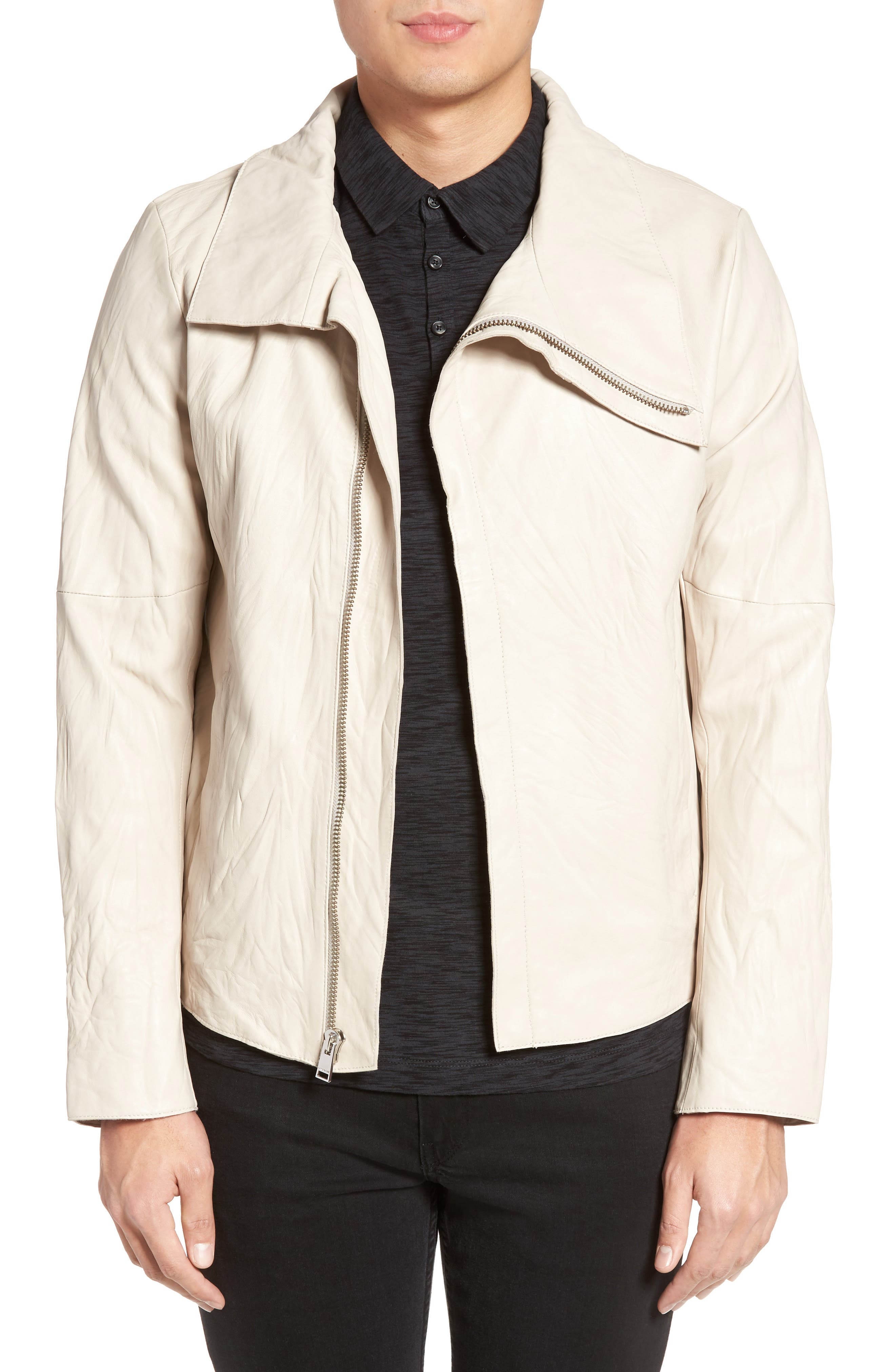 LAMARQUE Funnel Neck Leather Jacket