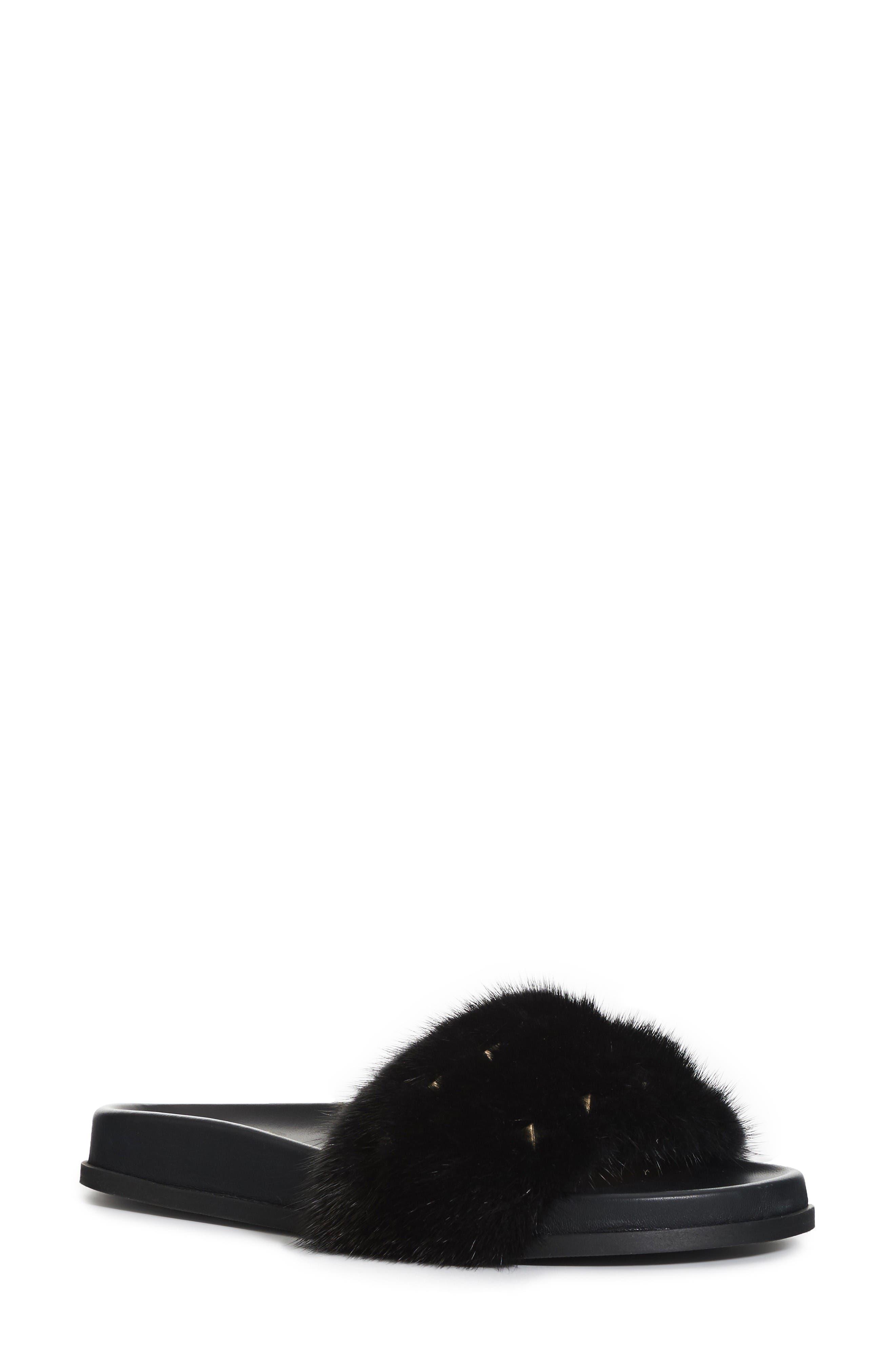 VALENTINO GARAVANI Rockstud Genuine Mink Fur Slide Sandal (Women)