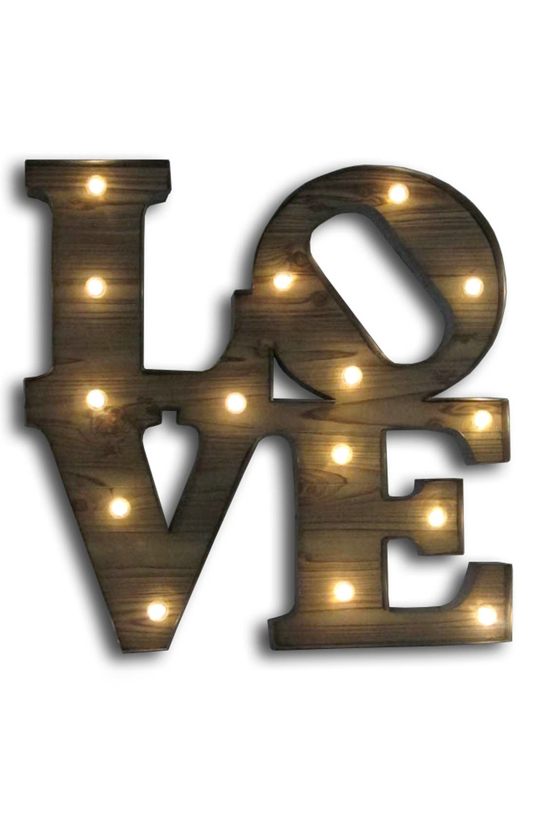 Main Image - Crystal Art Gallery 'Love' Marquee Light Wooden Sign