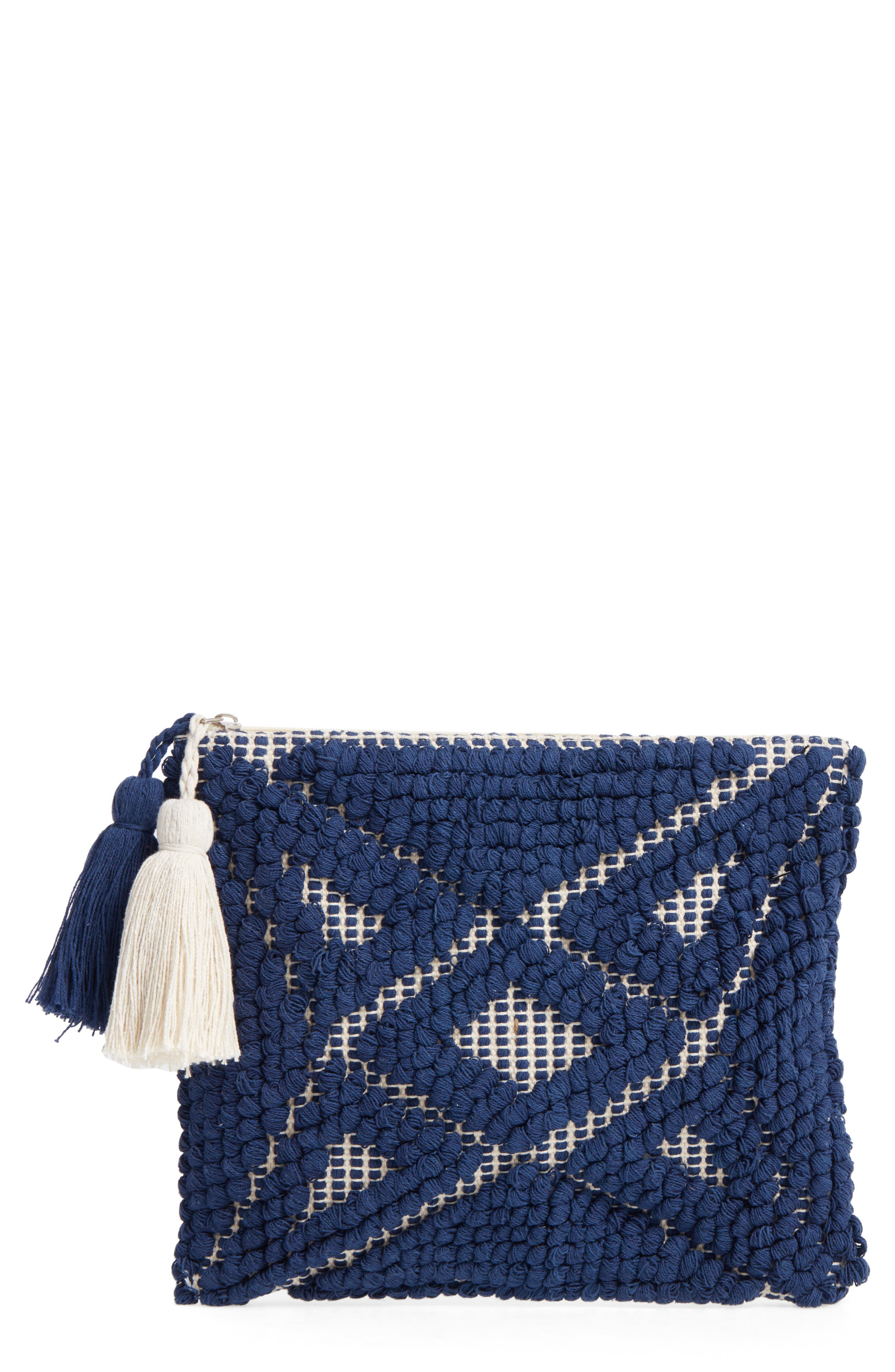 Main Image - Sole Society Palisades Tasseled Woven Clutch