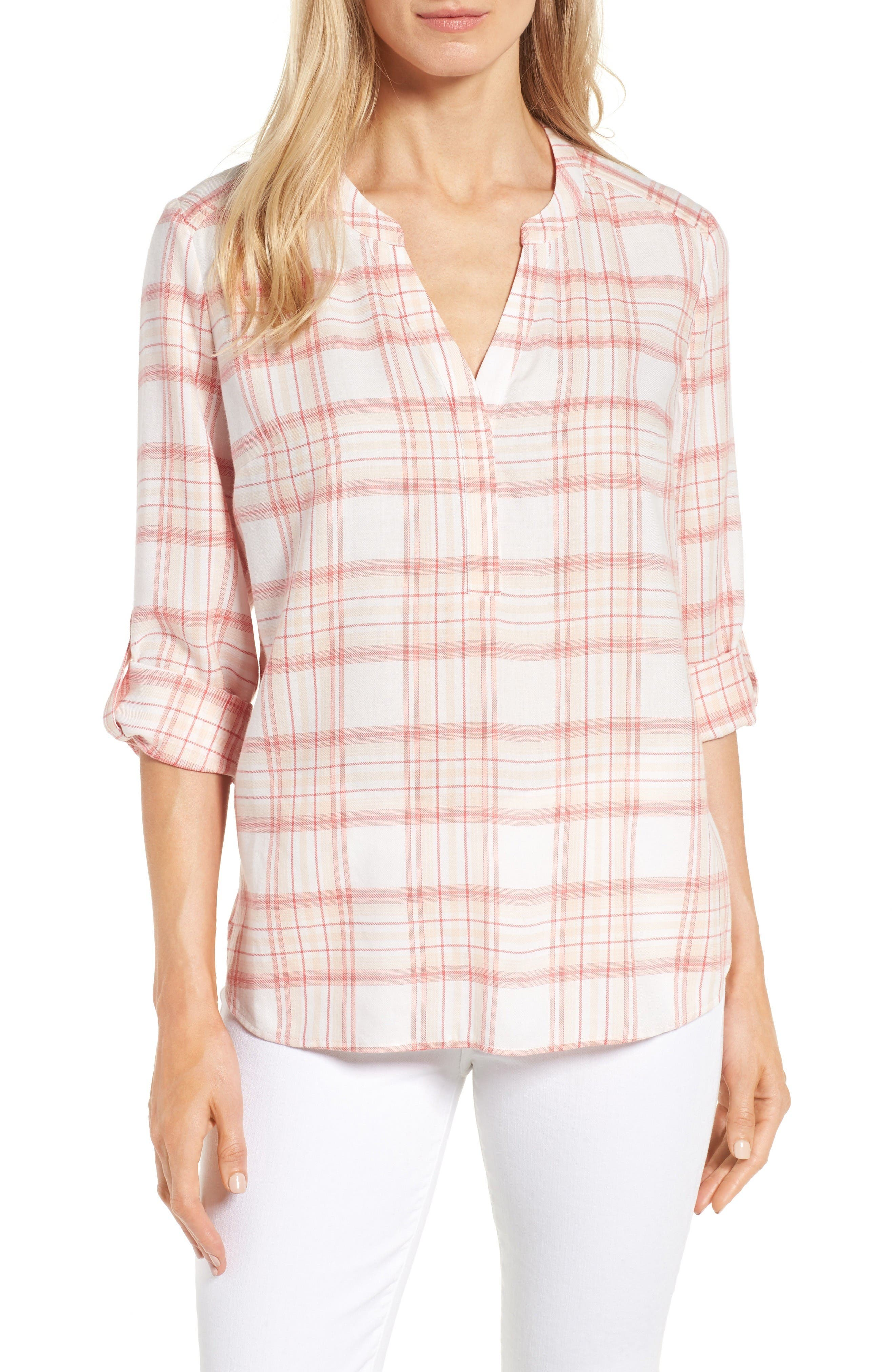 NYDJ Plaid Twill Henley Blouse