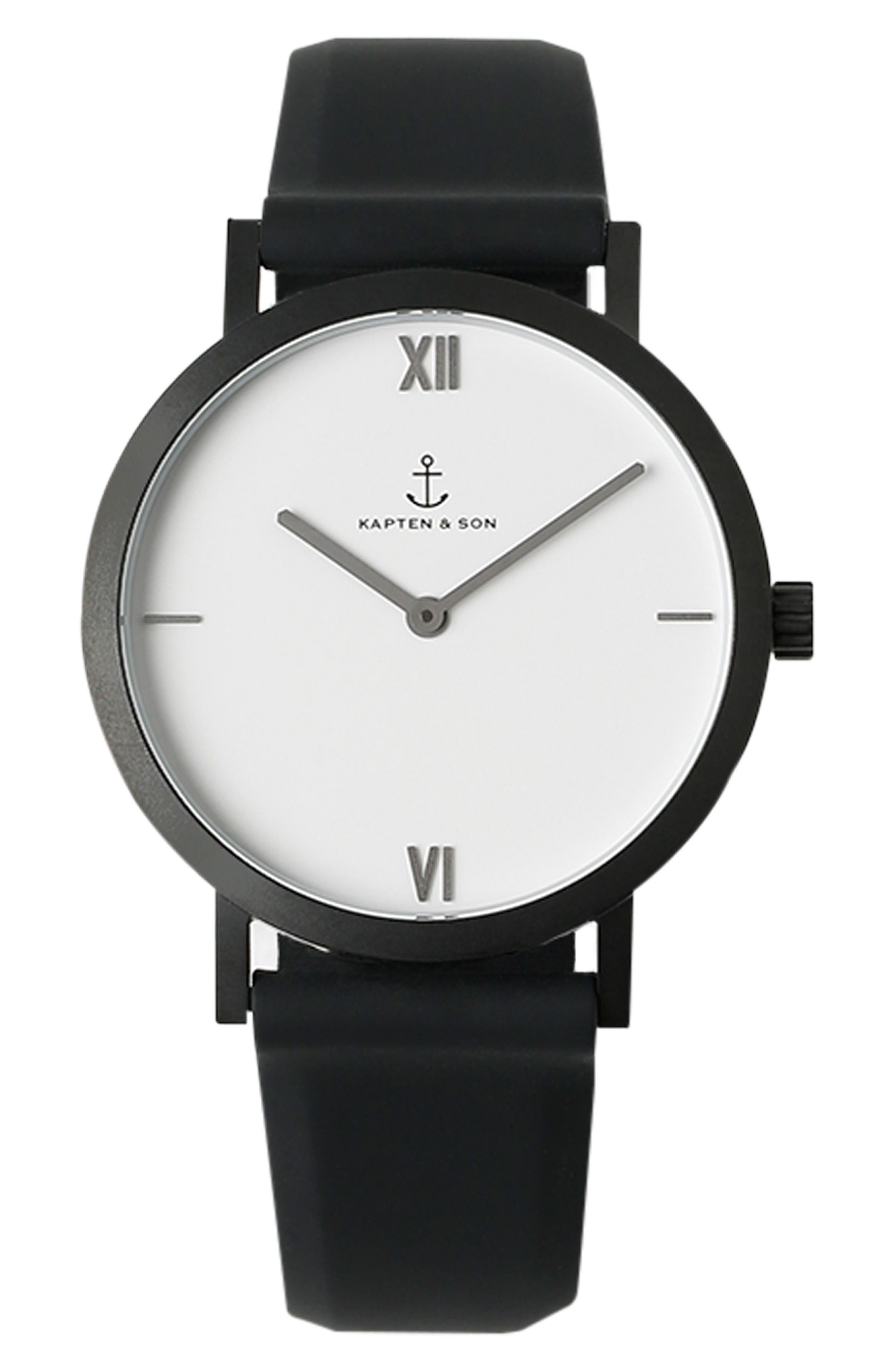 Kapten and Son Pure Nox Silicone Strap Watch, 38mm