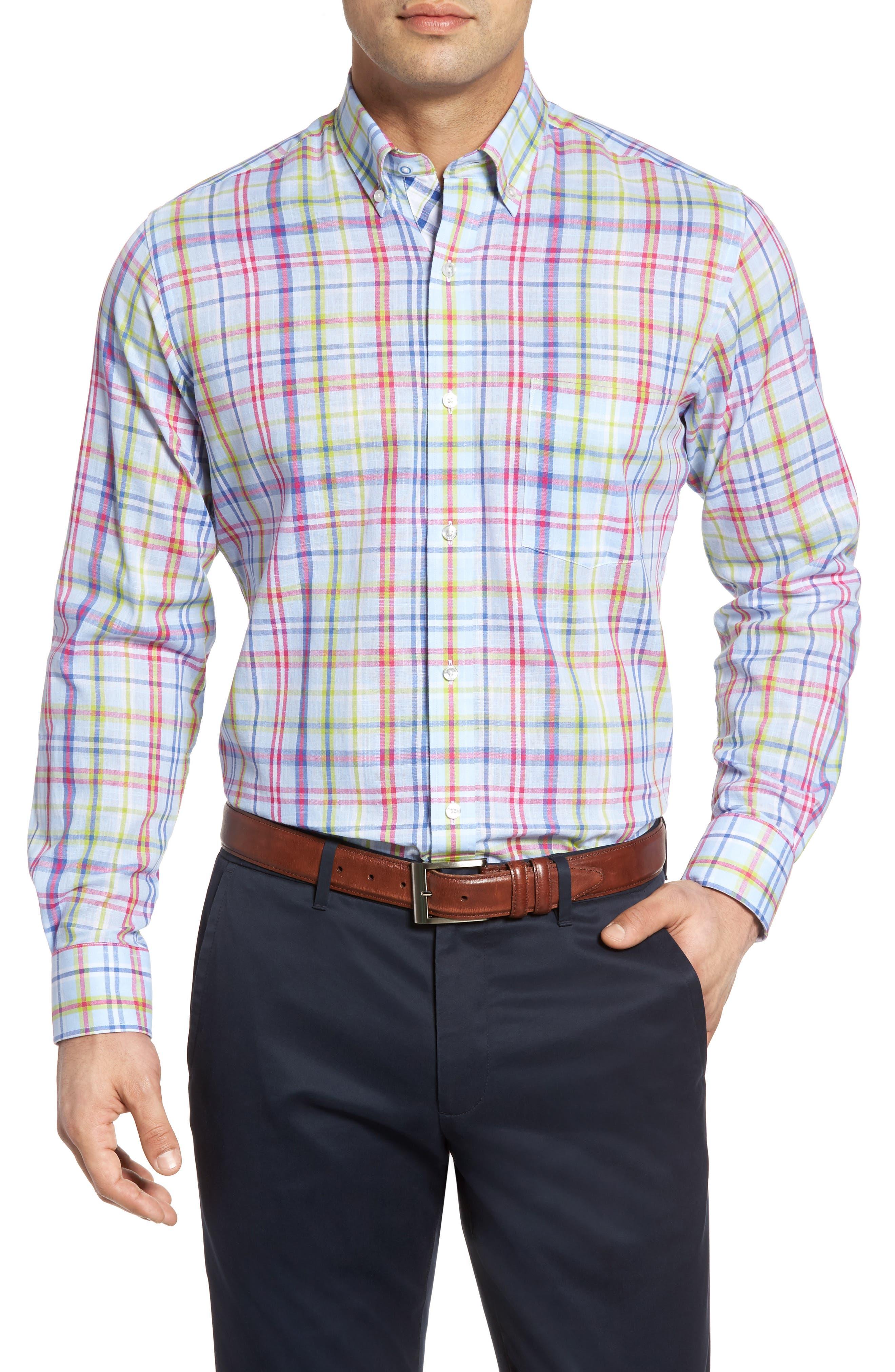 TailorByrd Catalina Regular Fit Plaid Sport Shirt (Big & Tall)