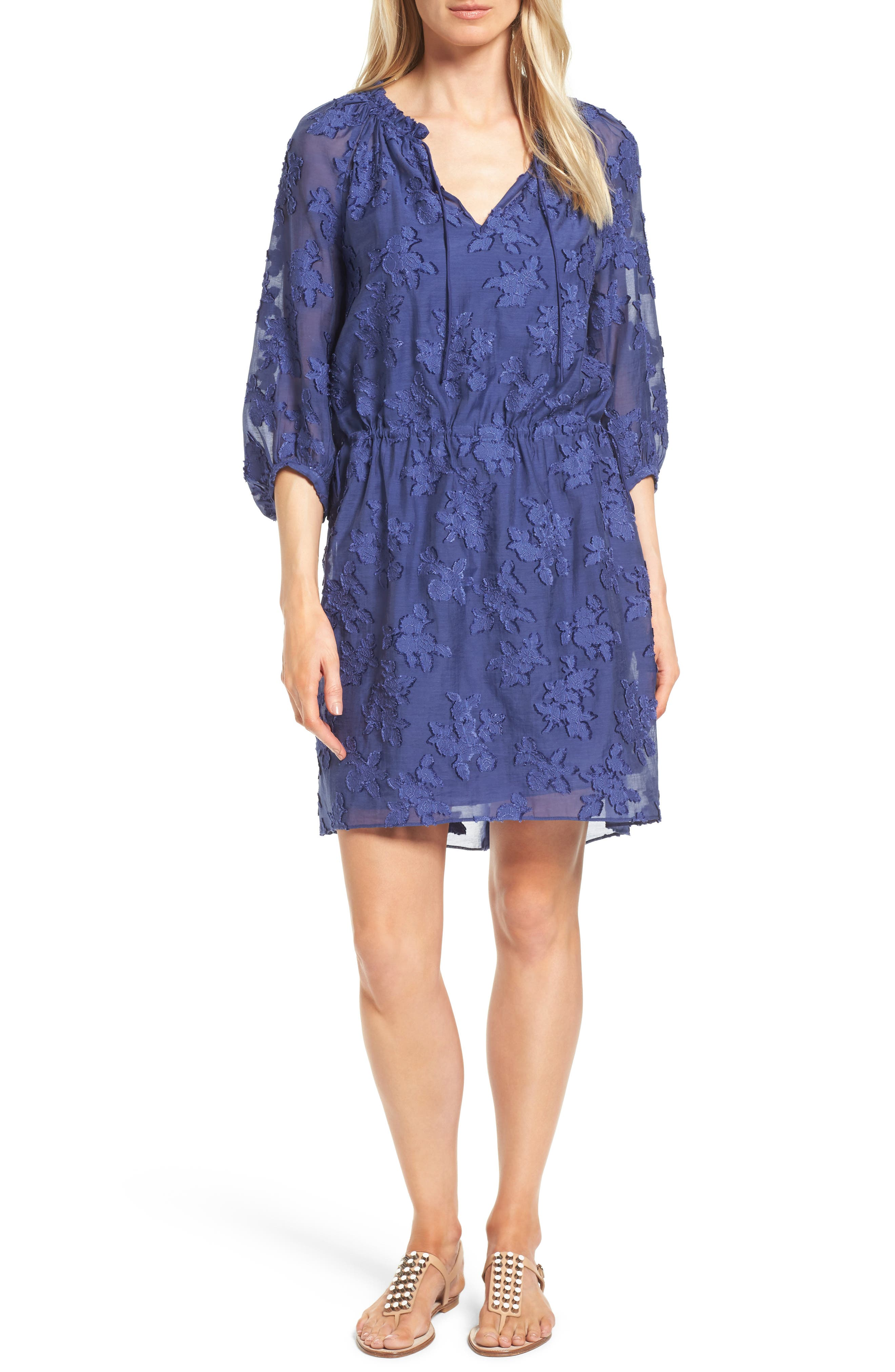 Nordstrom Collection Clipped Floral Jacquard Dress