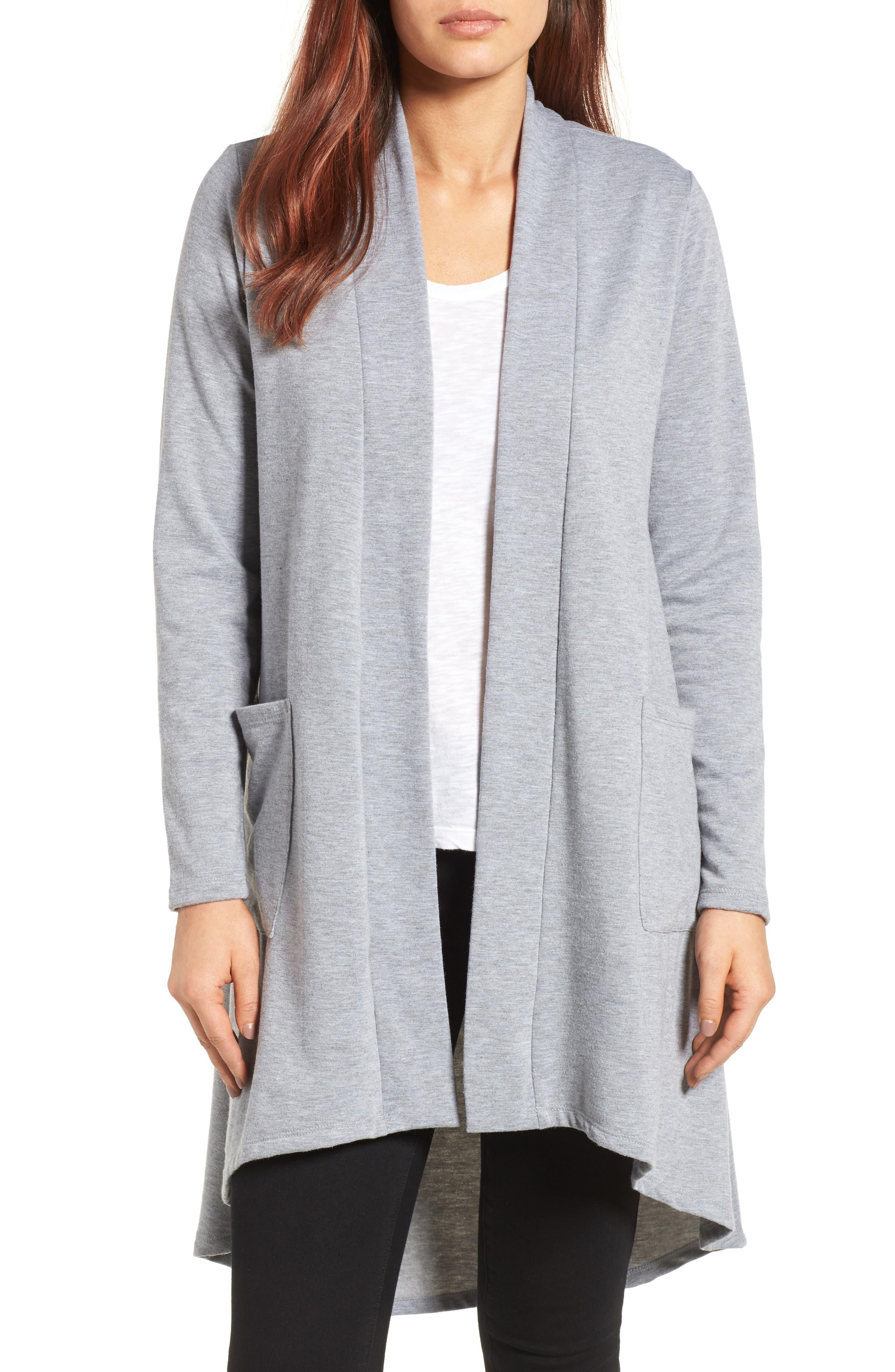 Alternate Image 1 Selected - Bobeau High/Low Fleece Knit Cardigan (Regular & Petite)