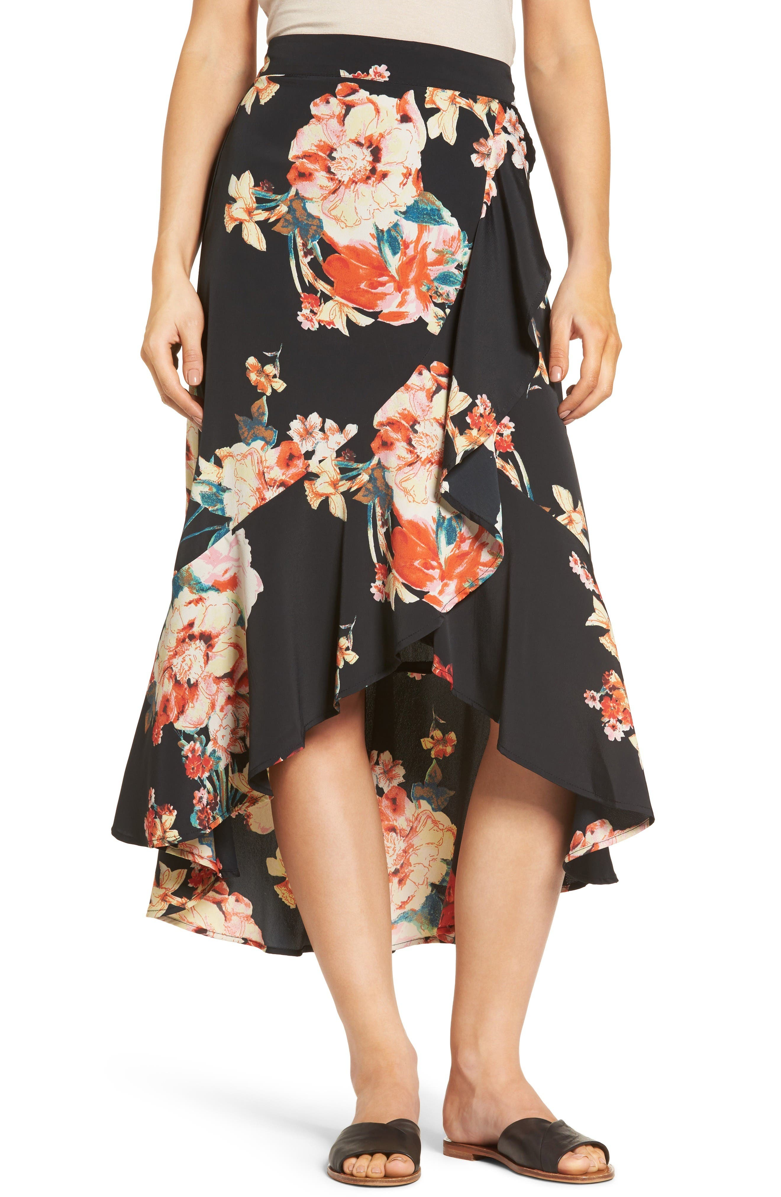 Band of Gypsies Floral Print Ruffle Skirt