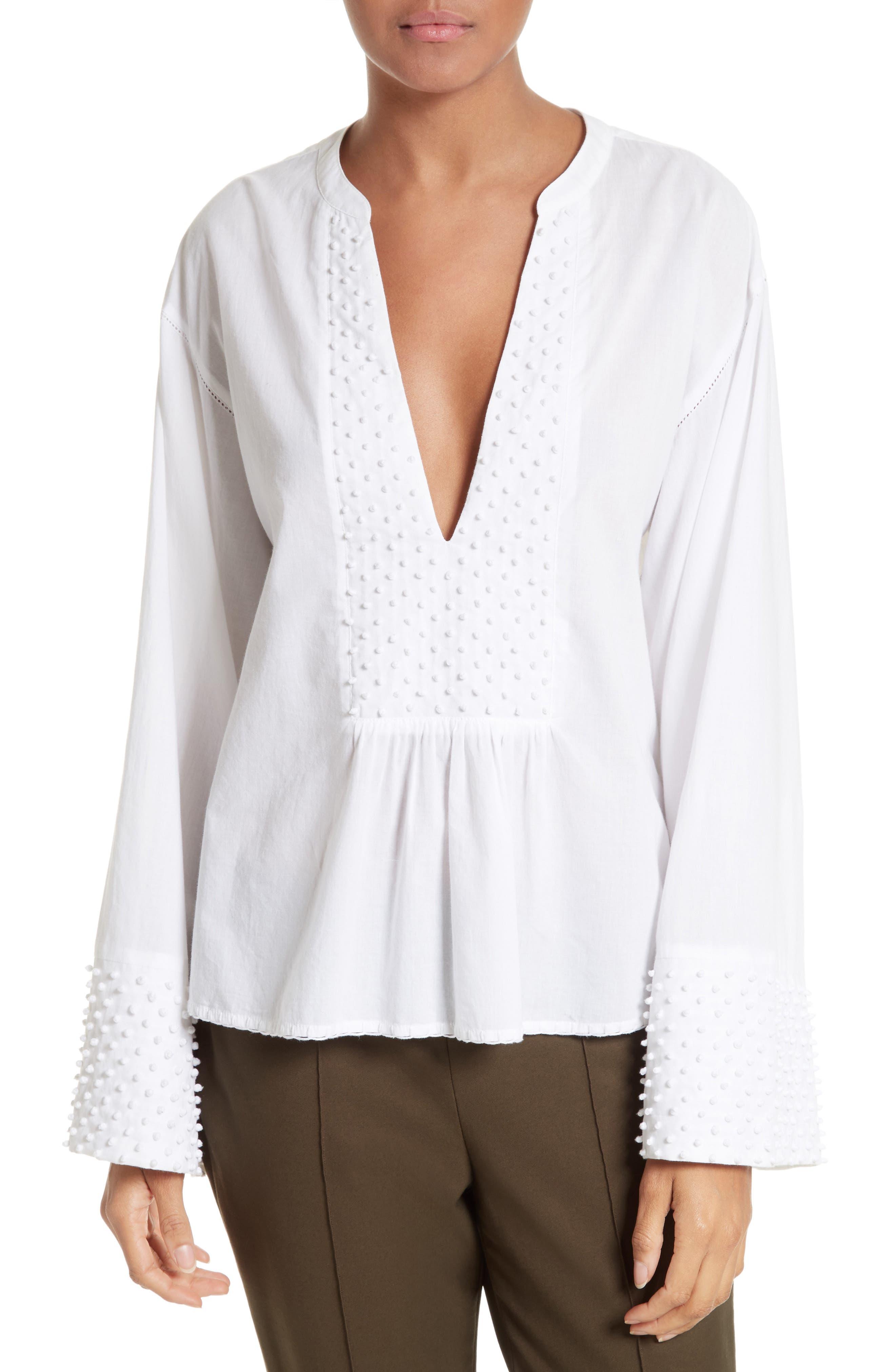 Alternate Image 1 Selected - Theory Matara E Embroidered Cotton Top