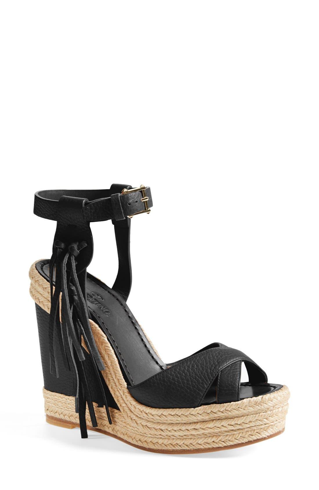 Main Image - Valentino 'Rockee' Fringe Wedge Sandal (Women)