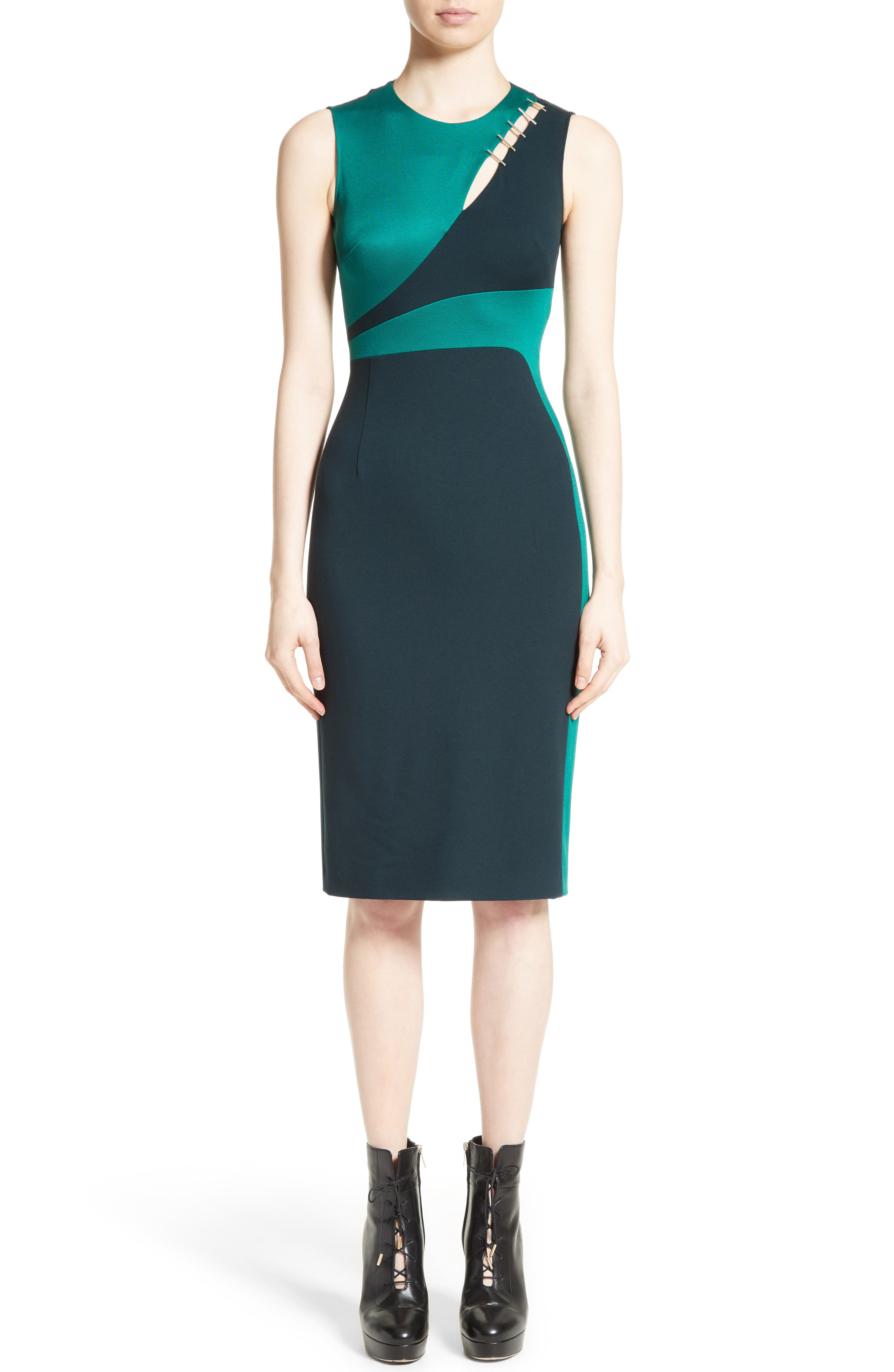 Alternate Image 1 Selected - Versace Collection Staple Detail Cutout Dress