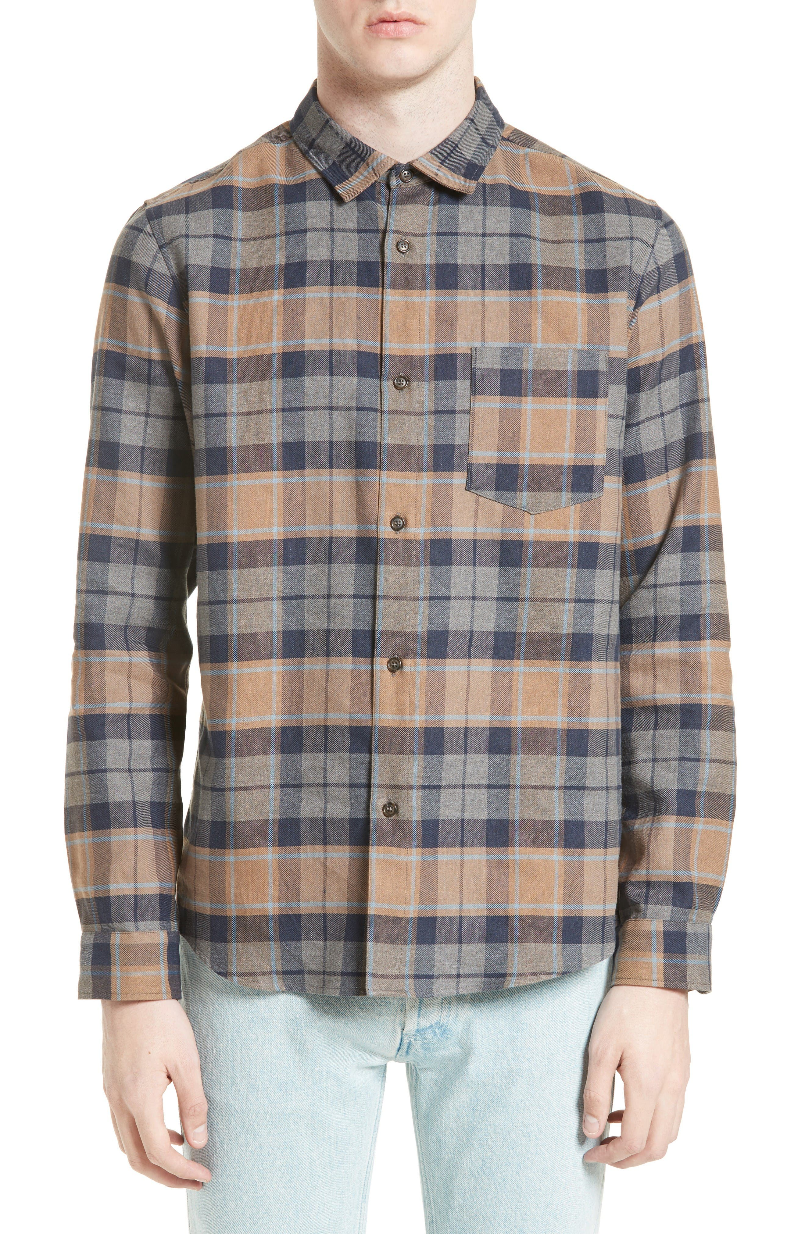 A.P.C. Extra Trim Fit Milan Plaid Cotton & Linen Shirt