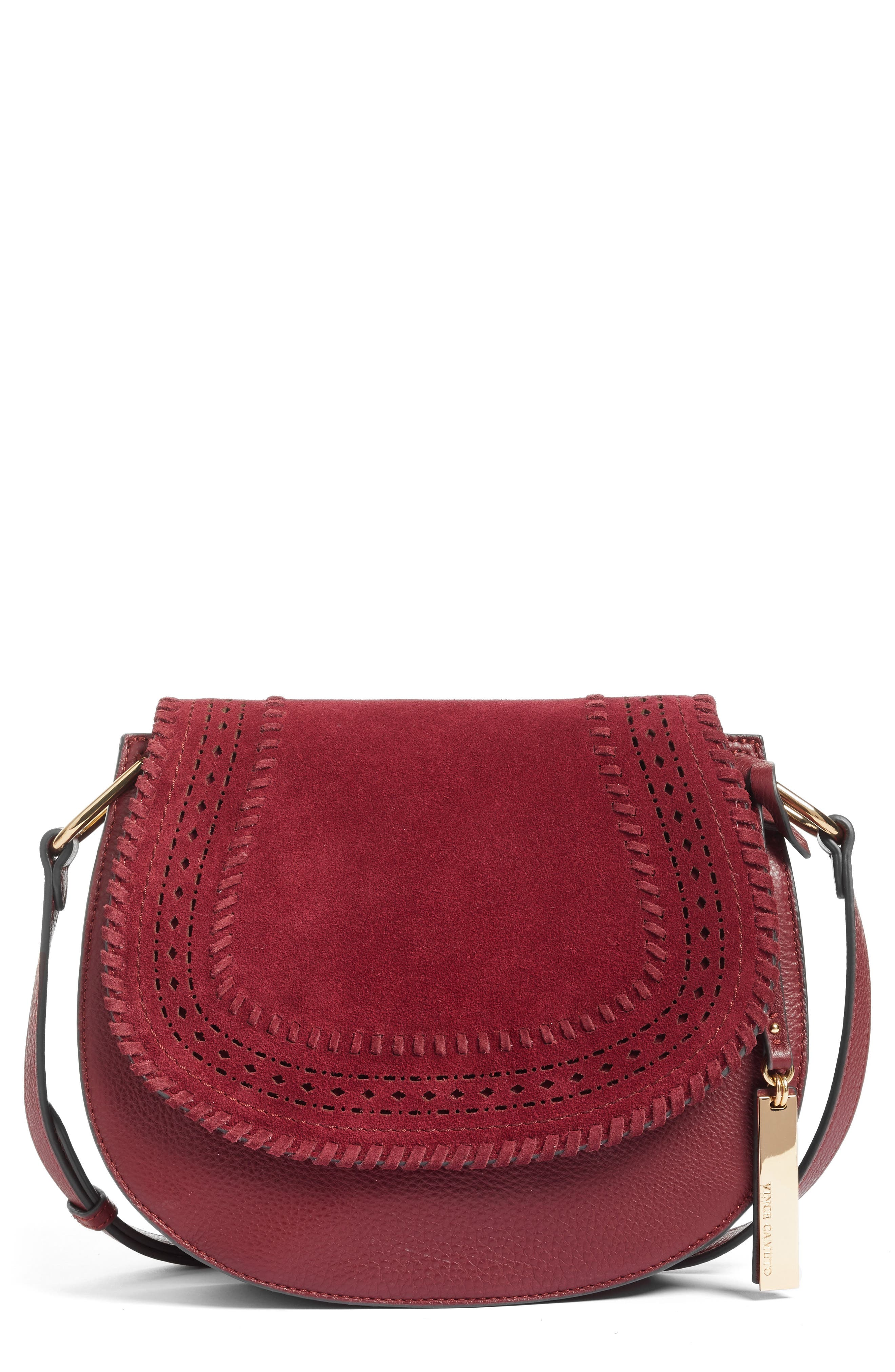 Alternate Image 1 Selected - Vince Camuto Kirie Suede & Leather Crossbody Saddle Bag (Nordstrom Exclusive)