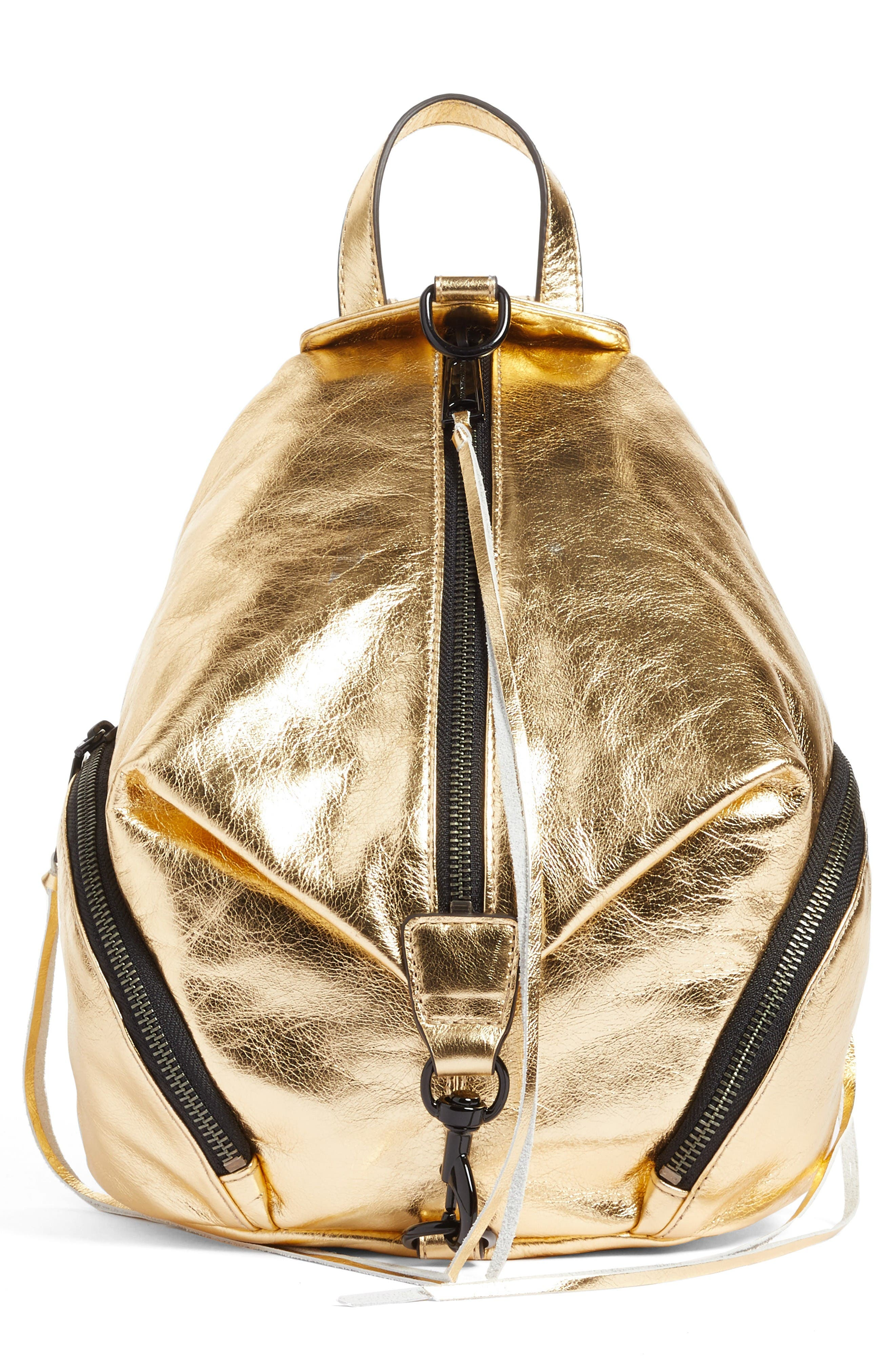 Alternate Image 1 Selected - Rebecca Minkoff Medium Julian Metallic Leather Backpack (Nordstrom Exclusive)