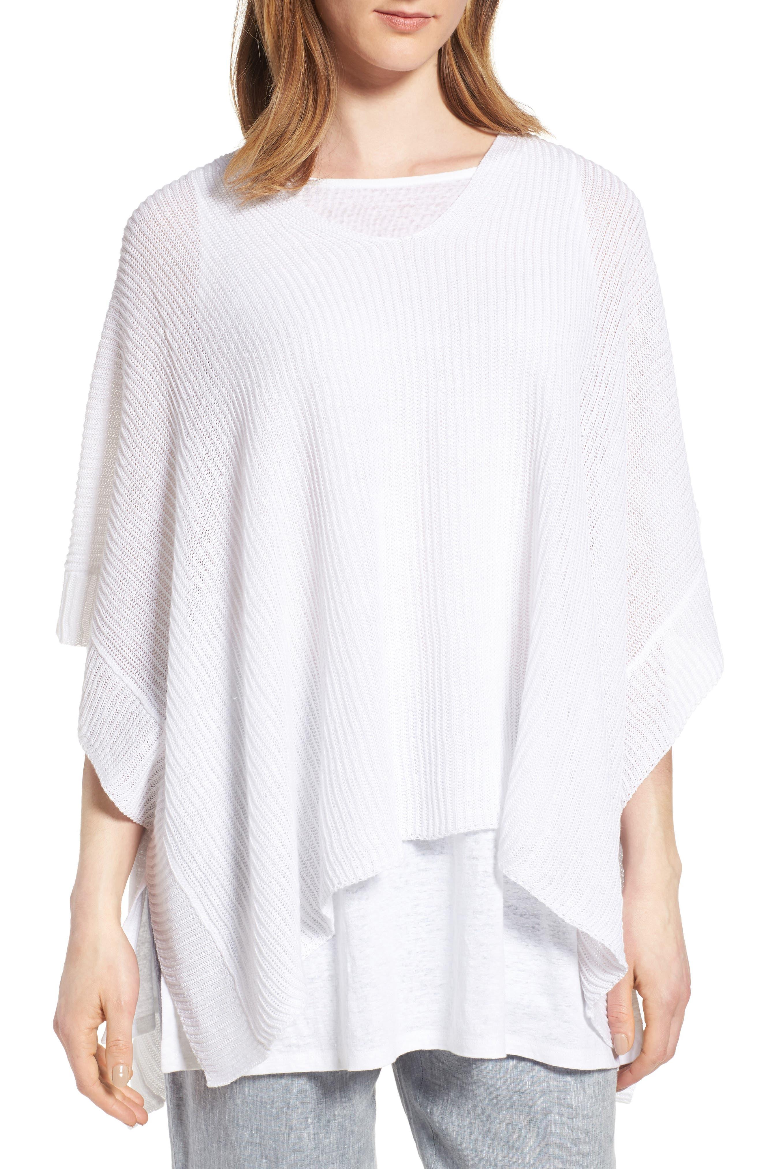 Eileen Fisher Organic Linen Knit Poncho