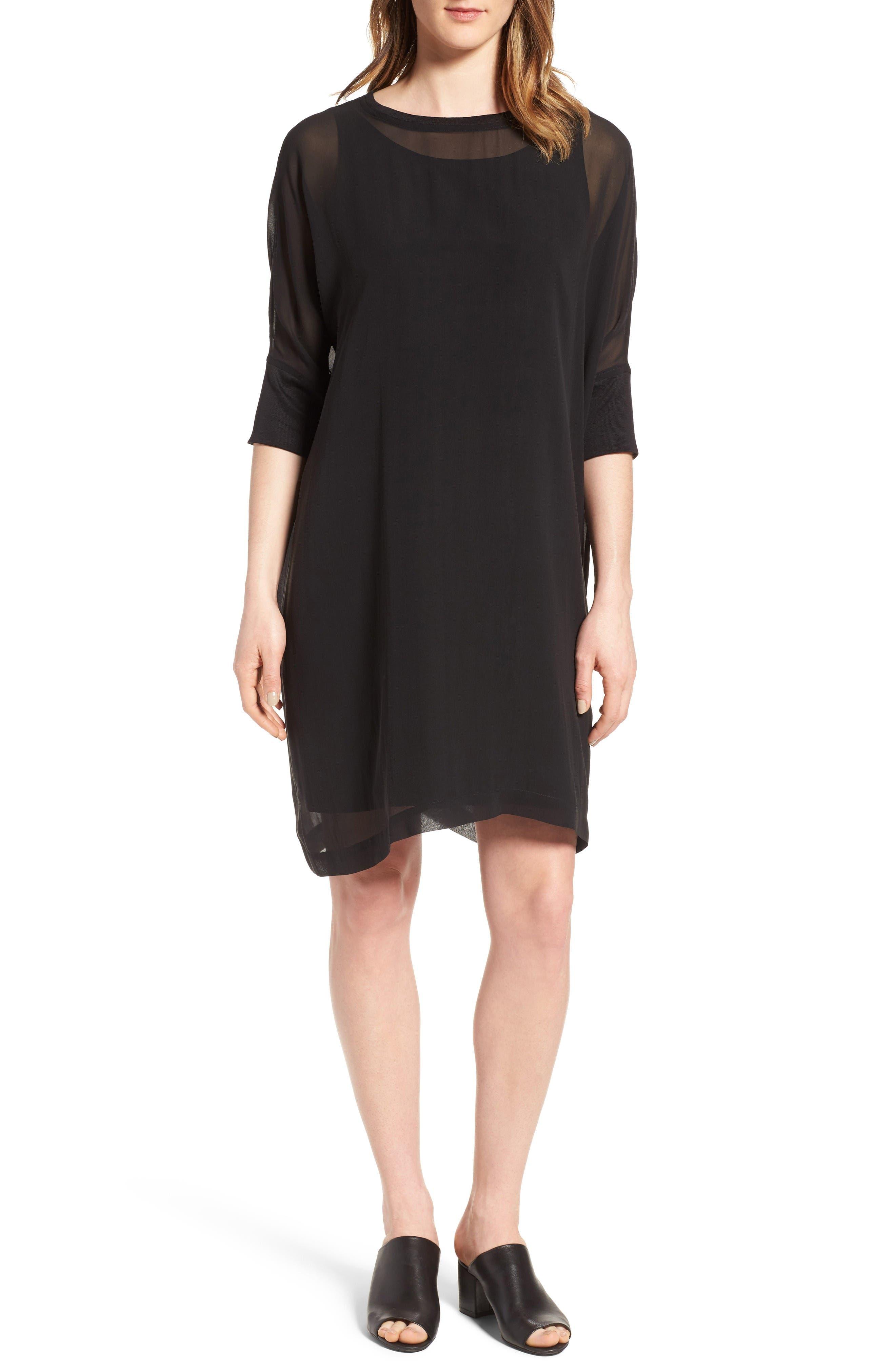 Eileen Fisher Dolman Sleeve Silk Shift Dress (Regular & Petite)