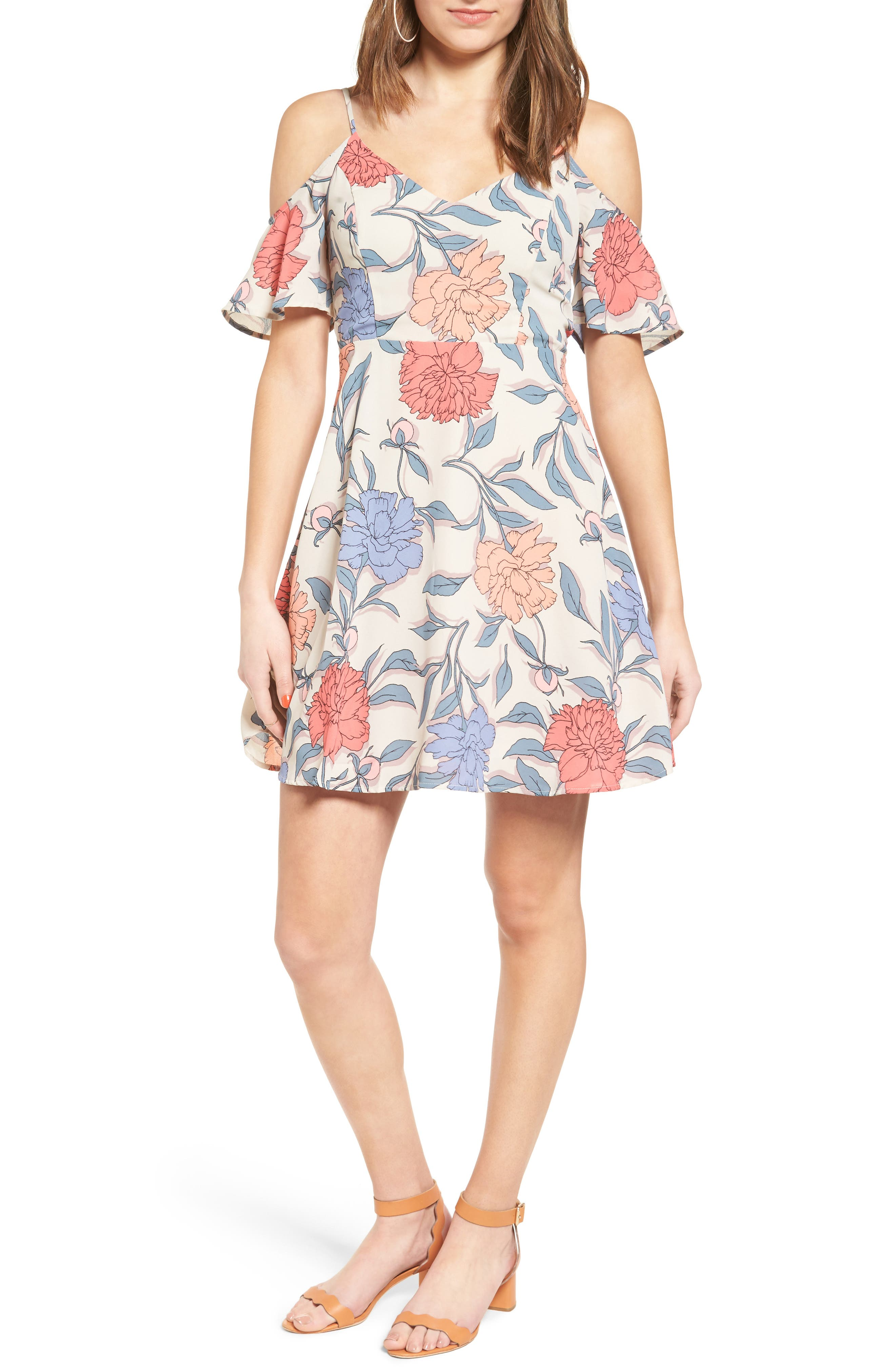 Main Image - Lush Off the Shoulder Fit & Flare Dress