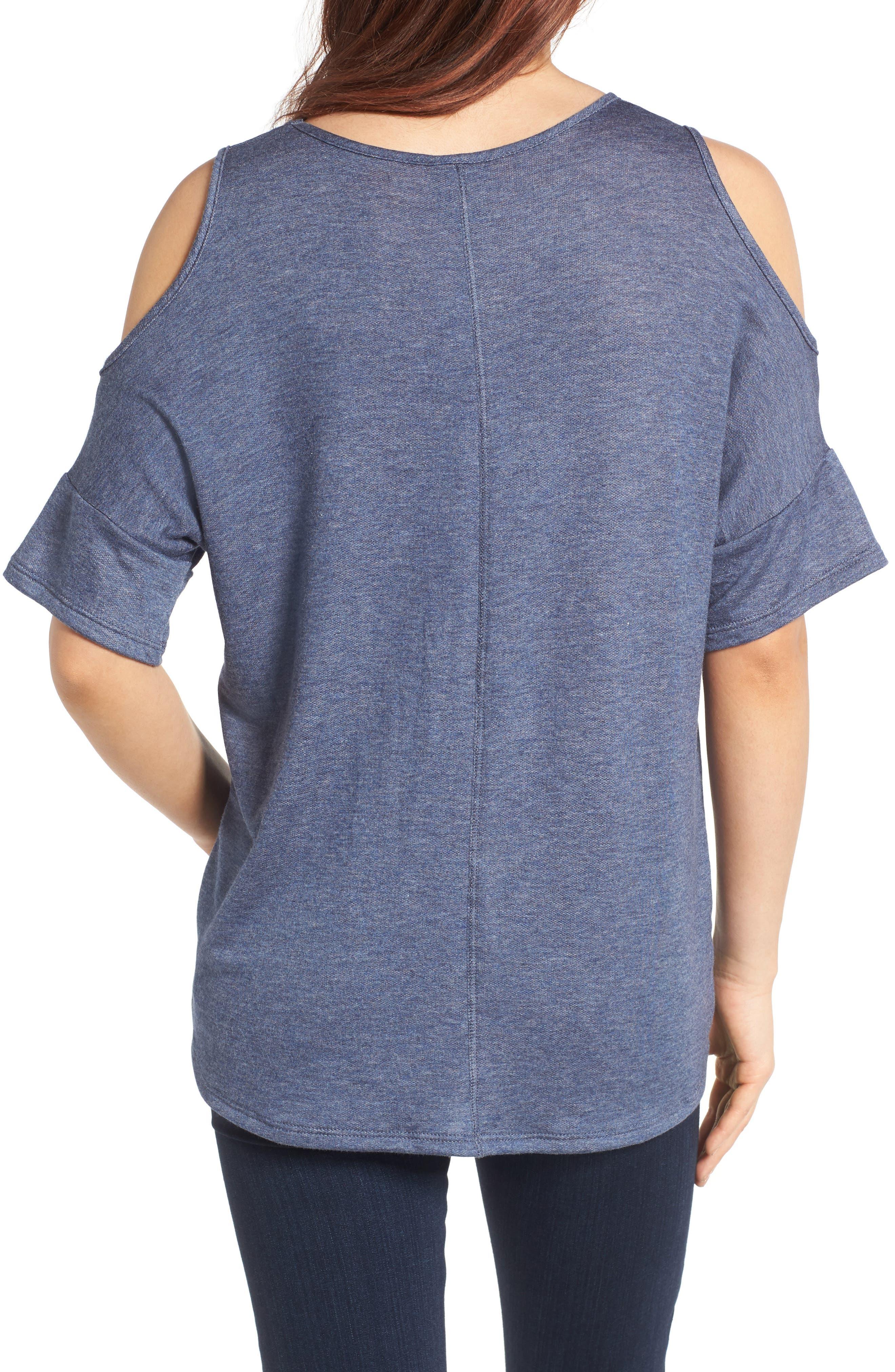 Alternate Image 2  - Bobeau High/Low Cold Shoulder Sweatshirt