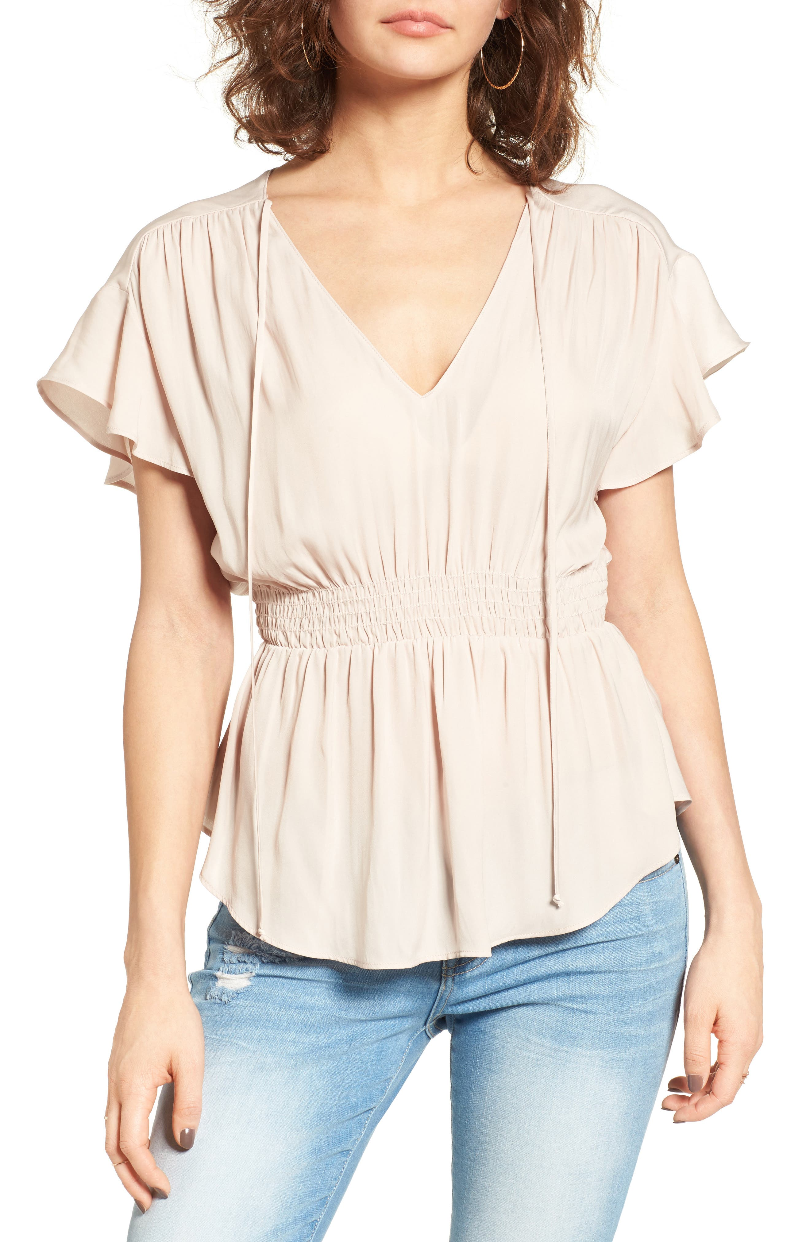 ASTR the Label Shirred Peplum Top