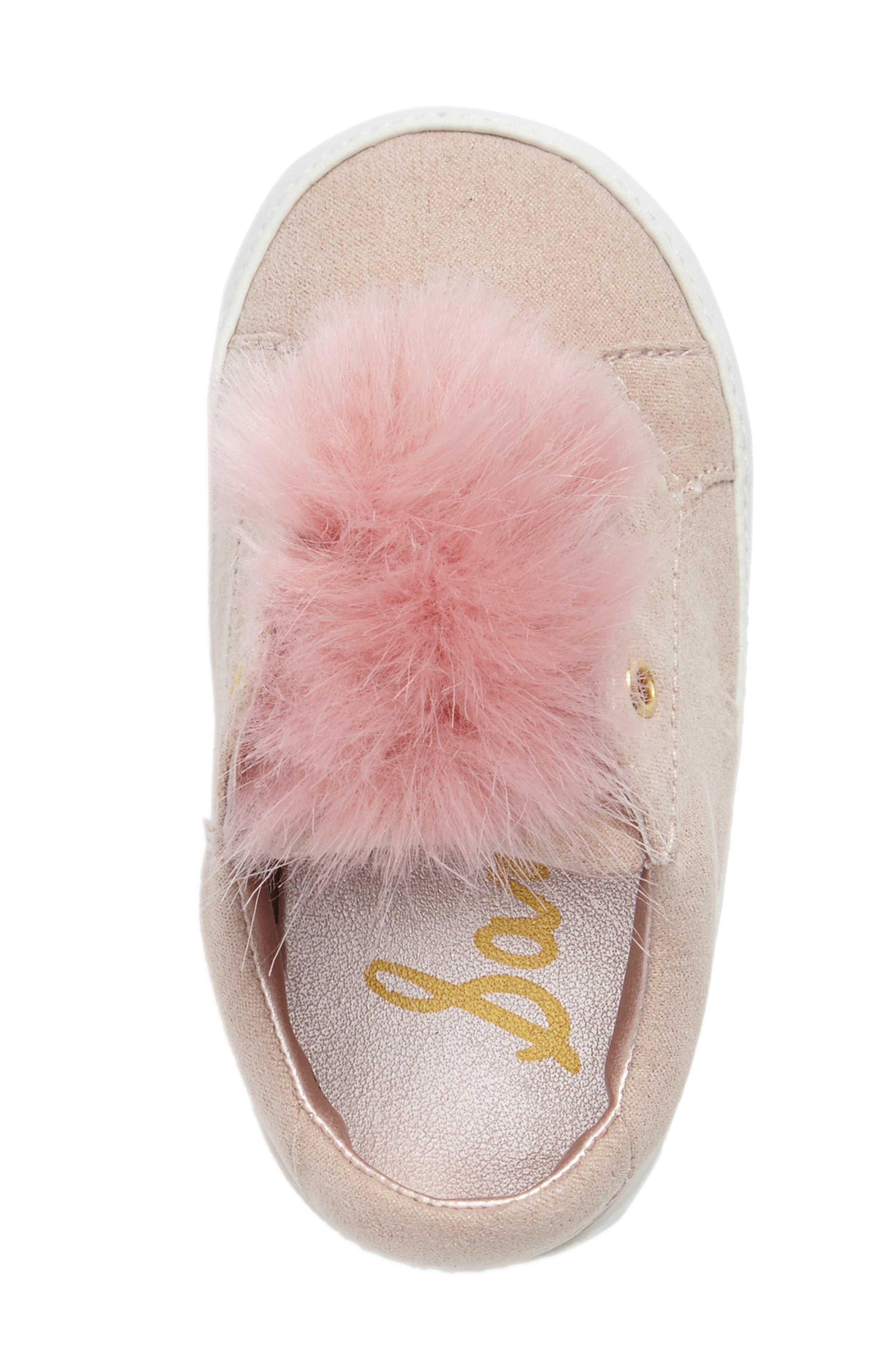 Alternate Image 5  - Sam Edelman Leya Faux Fur Pompom Sneaker (Baby)