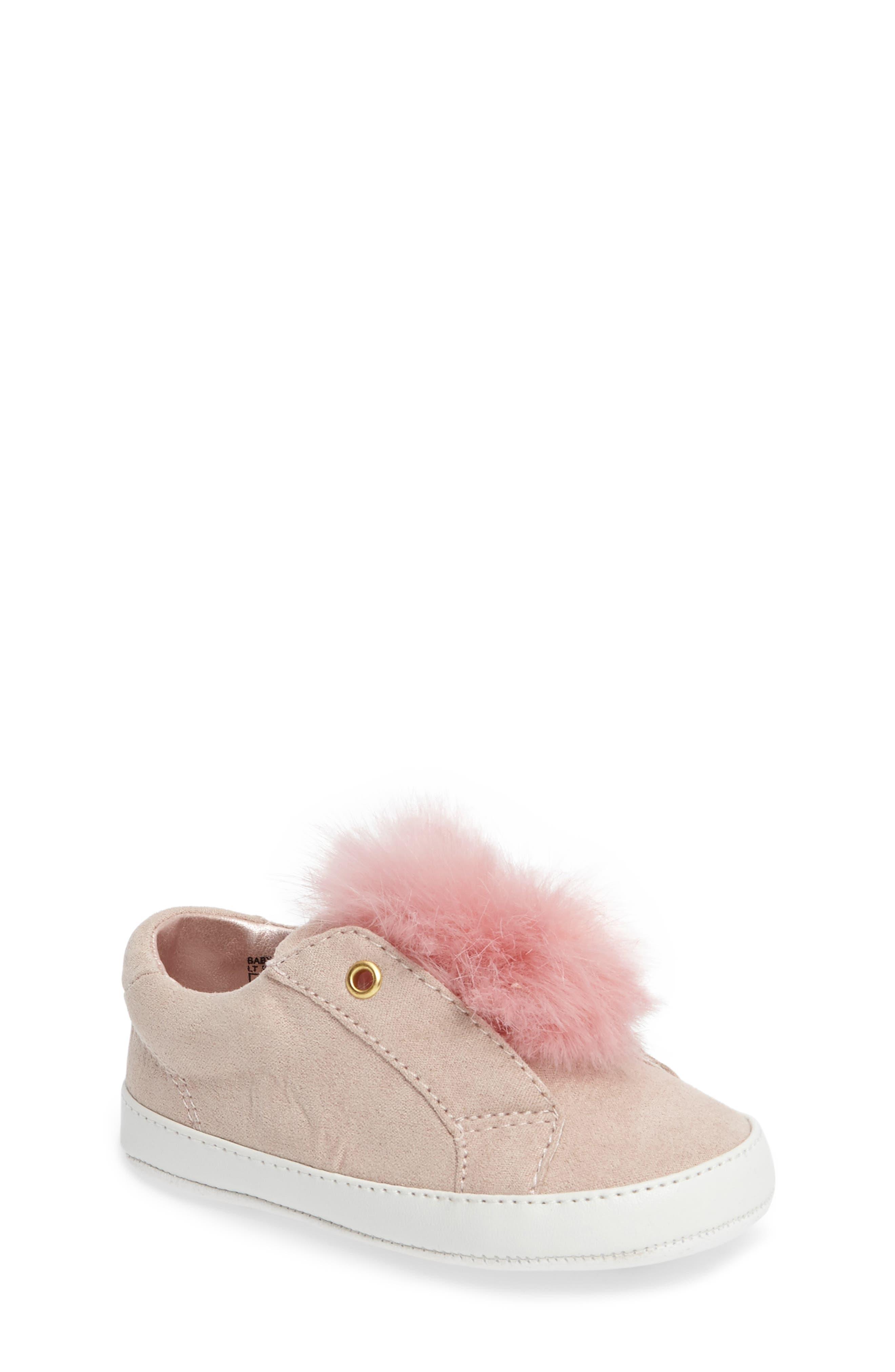 Alternate Image 1 Selected - Sam Edelman Leya Faux Fur Pompom Sneaker (Baby)