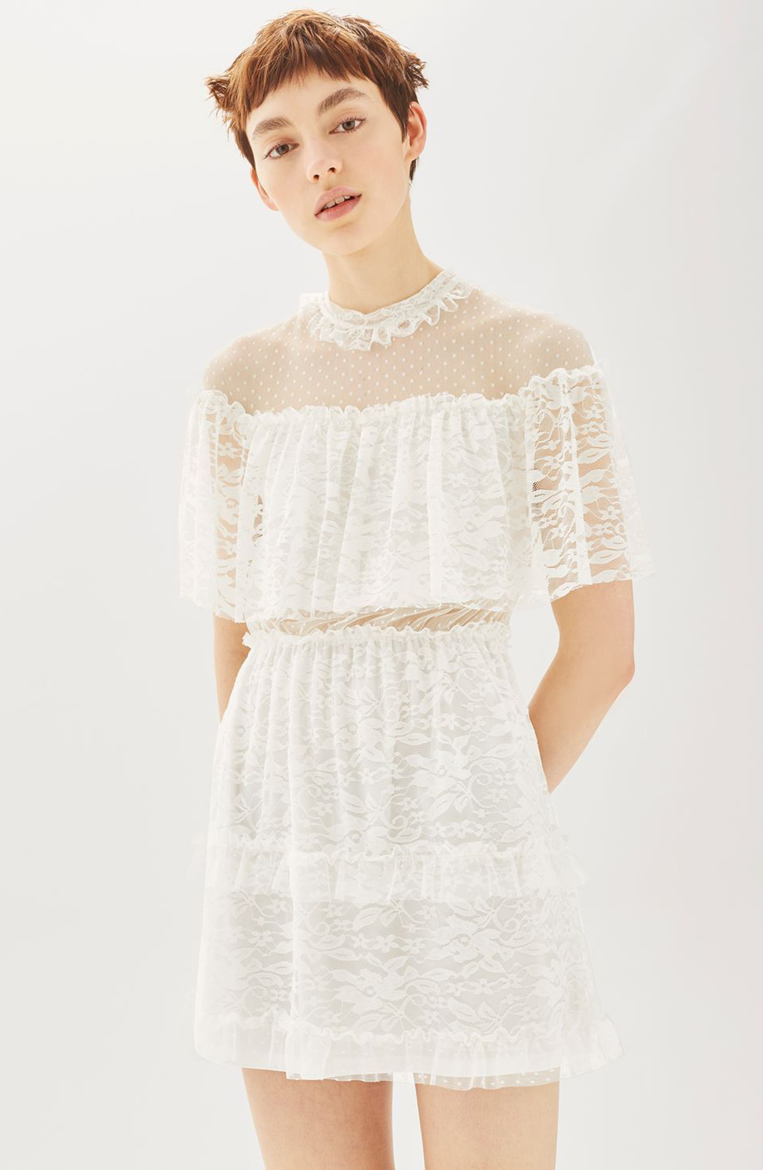 Alternate Image 2  - Topshop Lace Cape Skater Dress