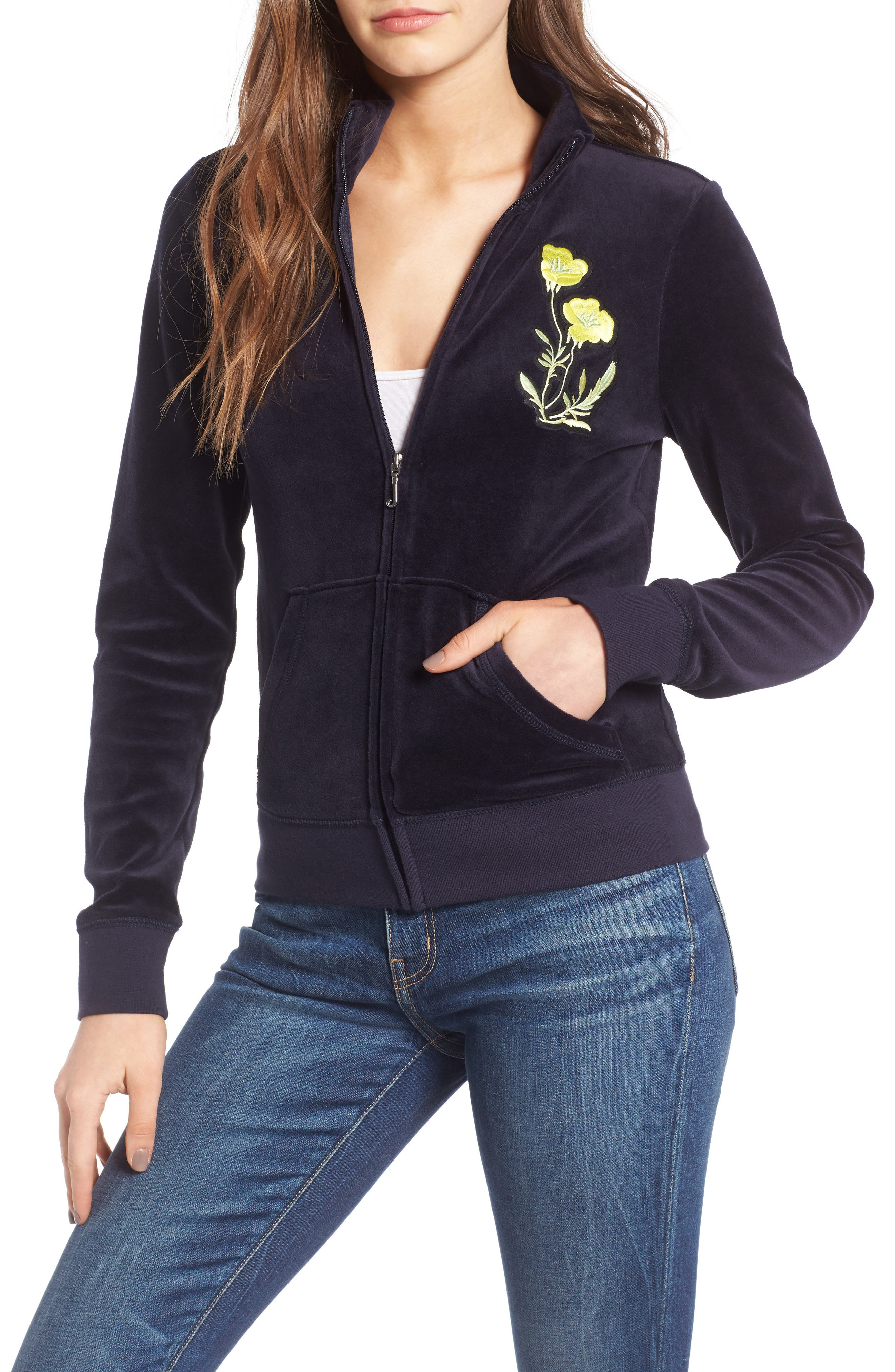 Alternate Image 1 Selected - Juicy Couture Pretty Thing Fairfax Velour Track Jacket