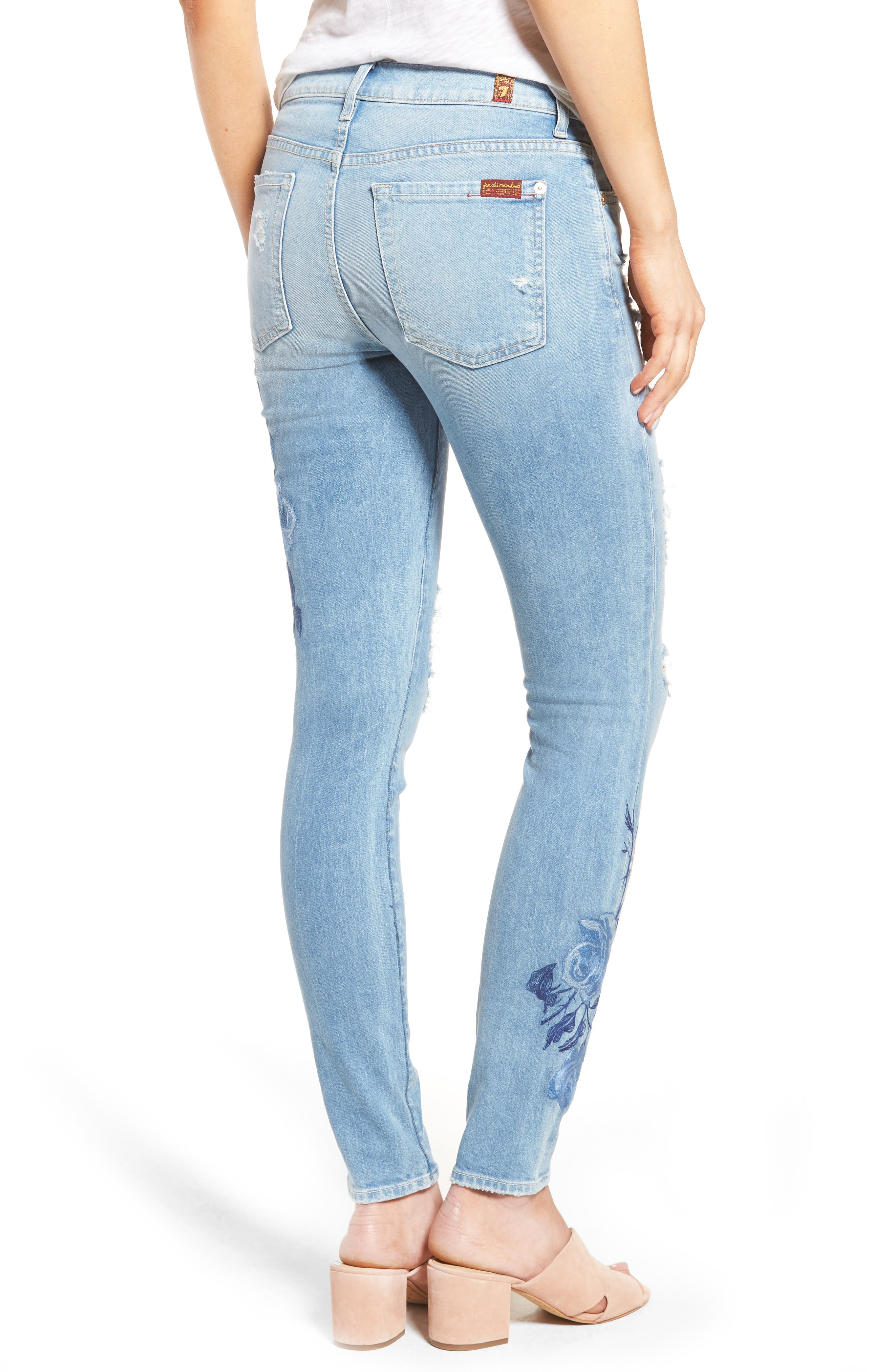 Alternate Image 2  - 7 For All Mankind® Embroidered Ankle Skinny Jeans (Vintage Air Light)