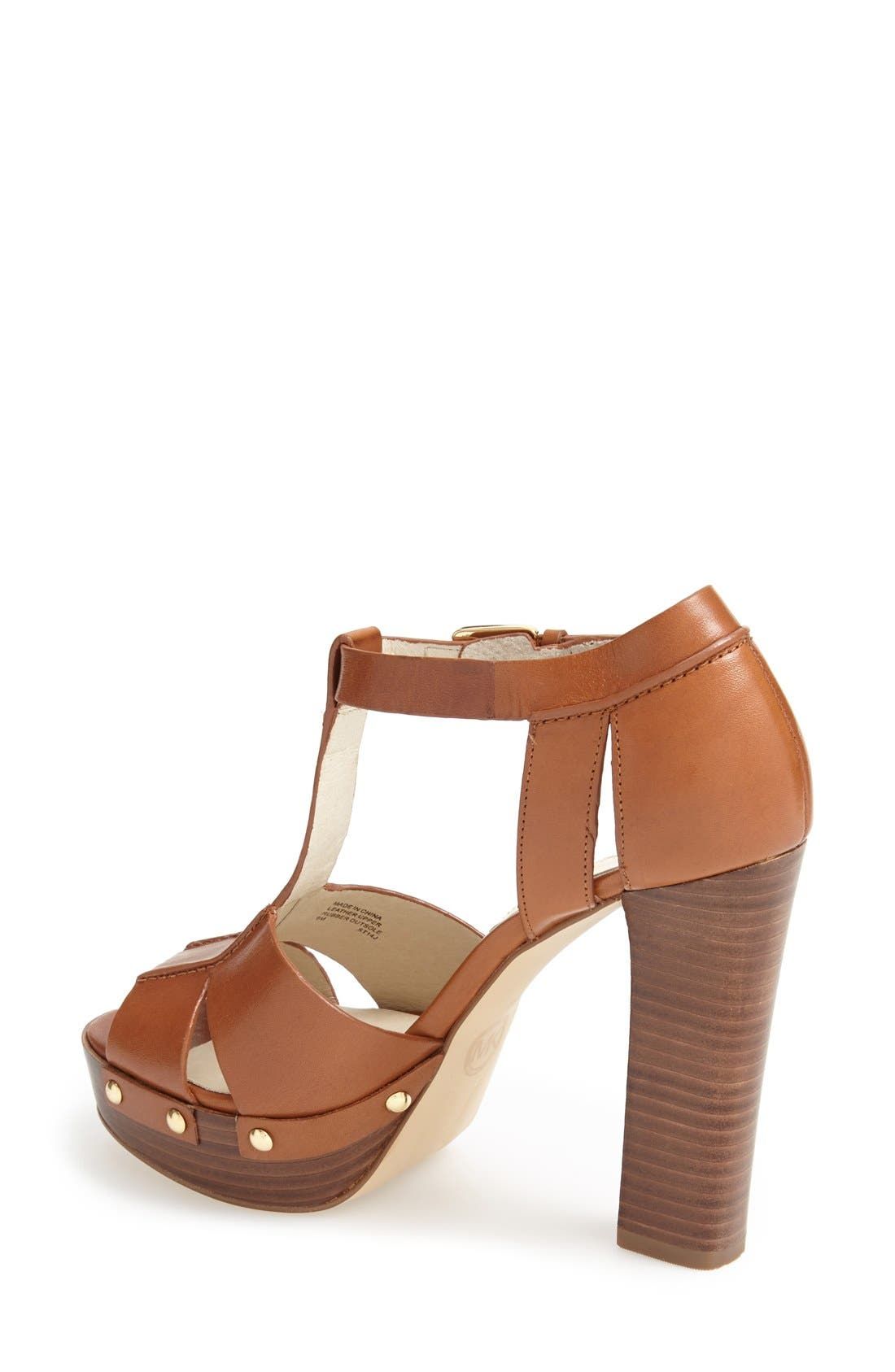 Alternate Image 2  - MICHAEL Michael Kors 'Beatrice' Leather T-Strap Platform Sandal (Women)