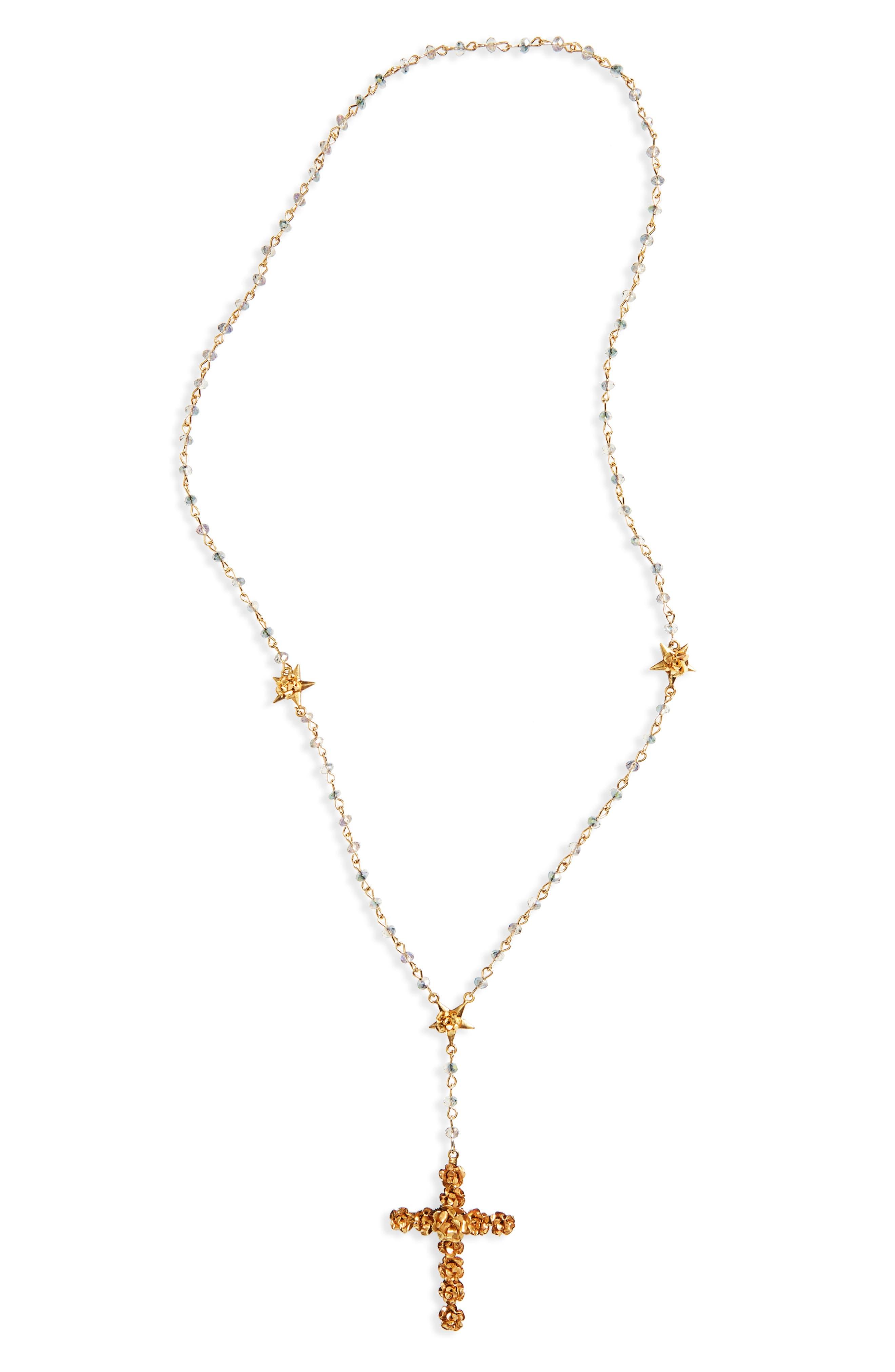 Main Image - Virgins Saints & Angels Coronation Crystal Rosary Necklace