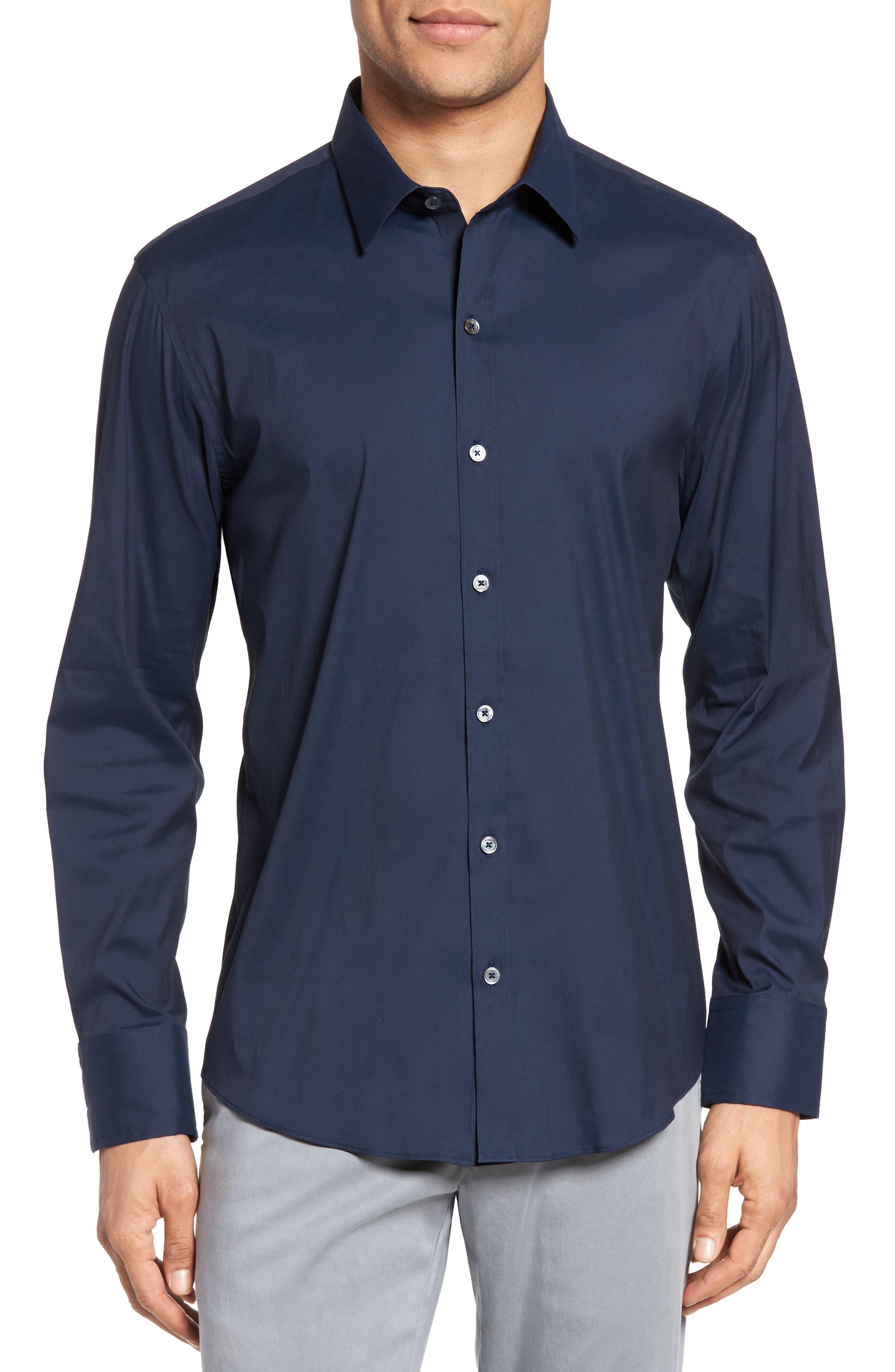Zachary Prell Mulberry Trim Fit Stretch Poplin Shirt